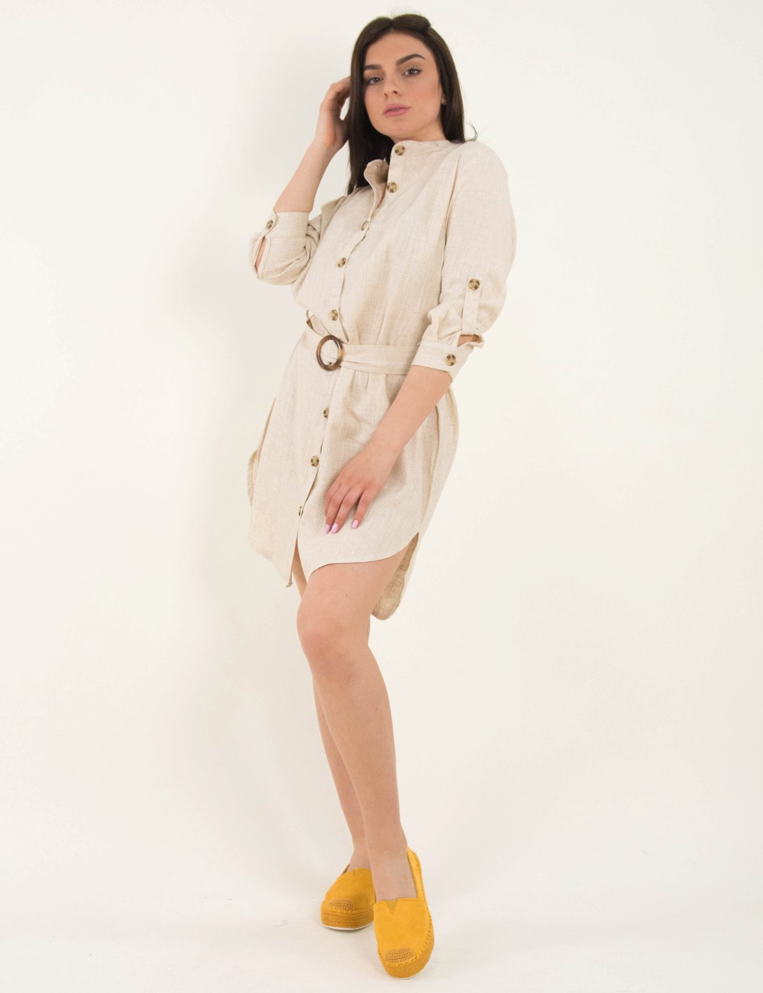 39639e8912b4 Γυναικείο μπεζ λινό πουκαμισοφόρεμα μάο γιακάς Coocu 21076