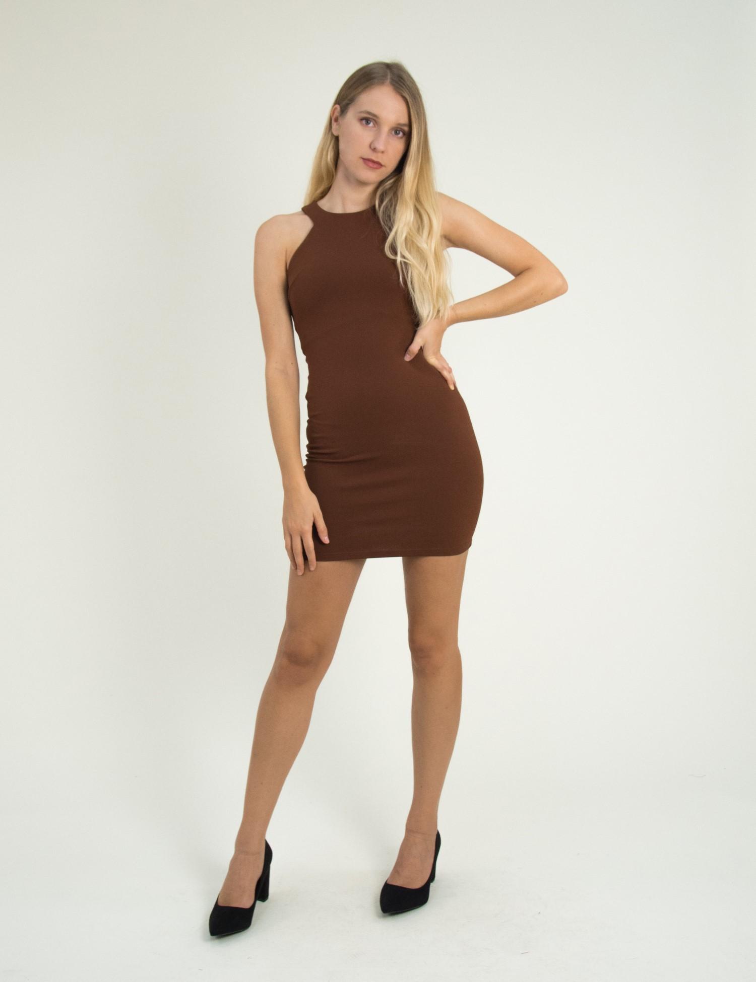 b69ecc68ba57 Torouxo Γυναικείο καφέ ελαστικό φόρεμα Cocktail 014100001F