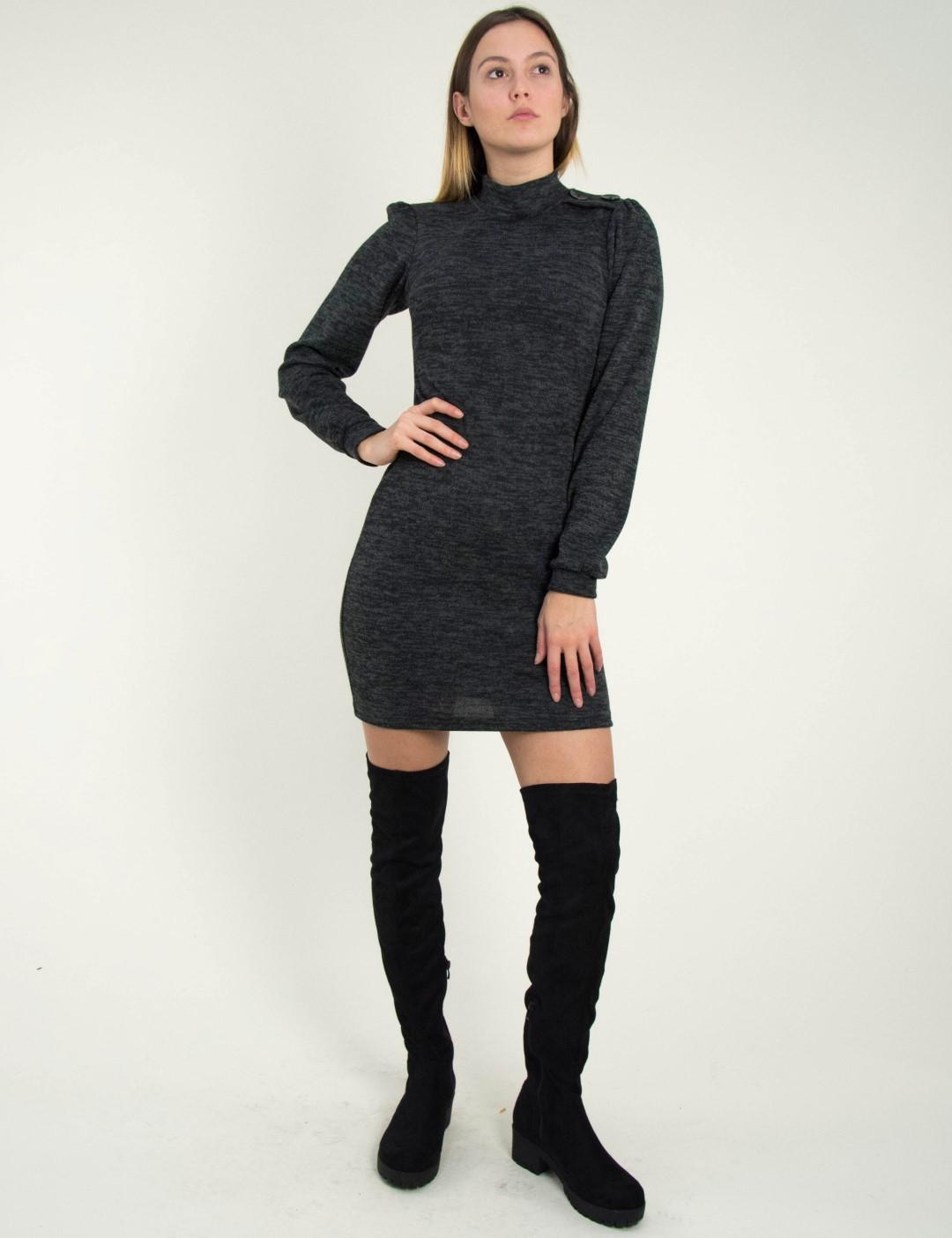 Γυναικείο μαύρο μάλλινο φόρεμα λουπέτο κορδέλα Benissimo 91936 114b06269b7
