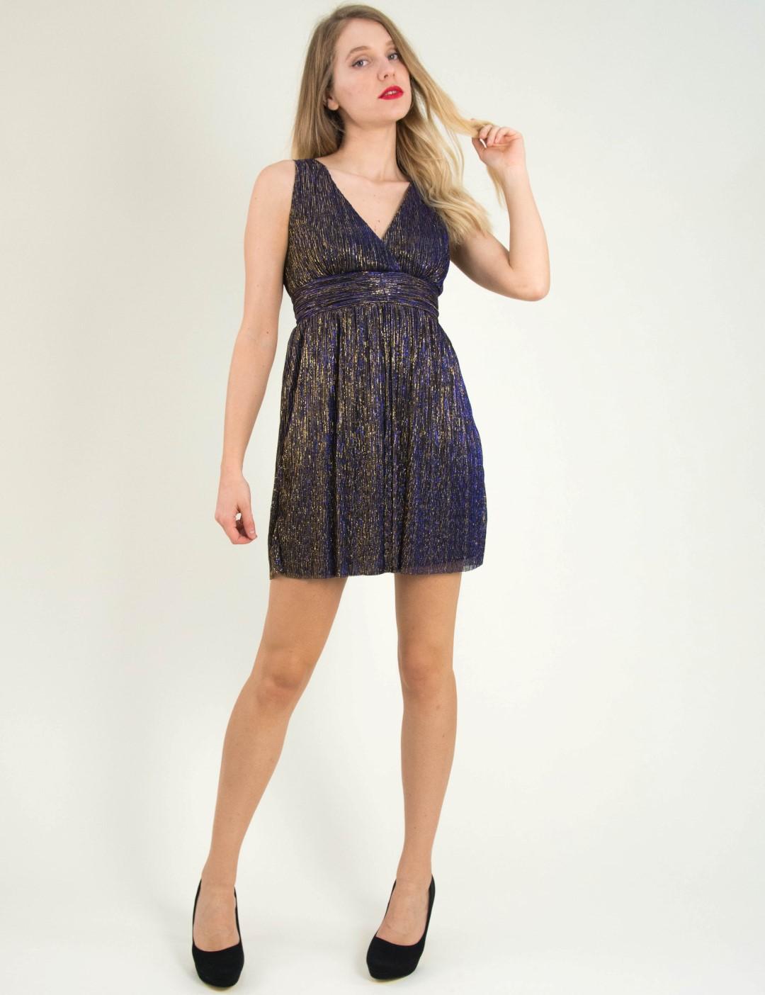 Γυναικεία μωβ φόρεμα τούλι μεταλλιζέ Cocktail 014100075L 1dc09c38758