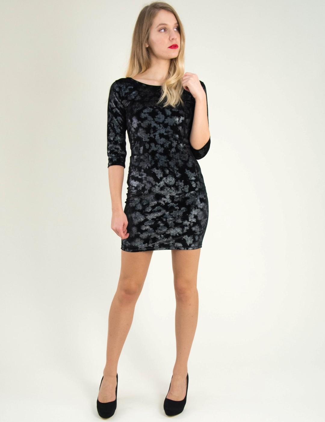 Γυναικείο μαύρο βελούδινο φόρεμα άνοιγμα πλάτη 8004198 d5d7193d03a