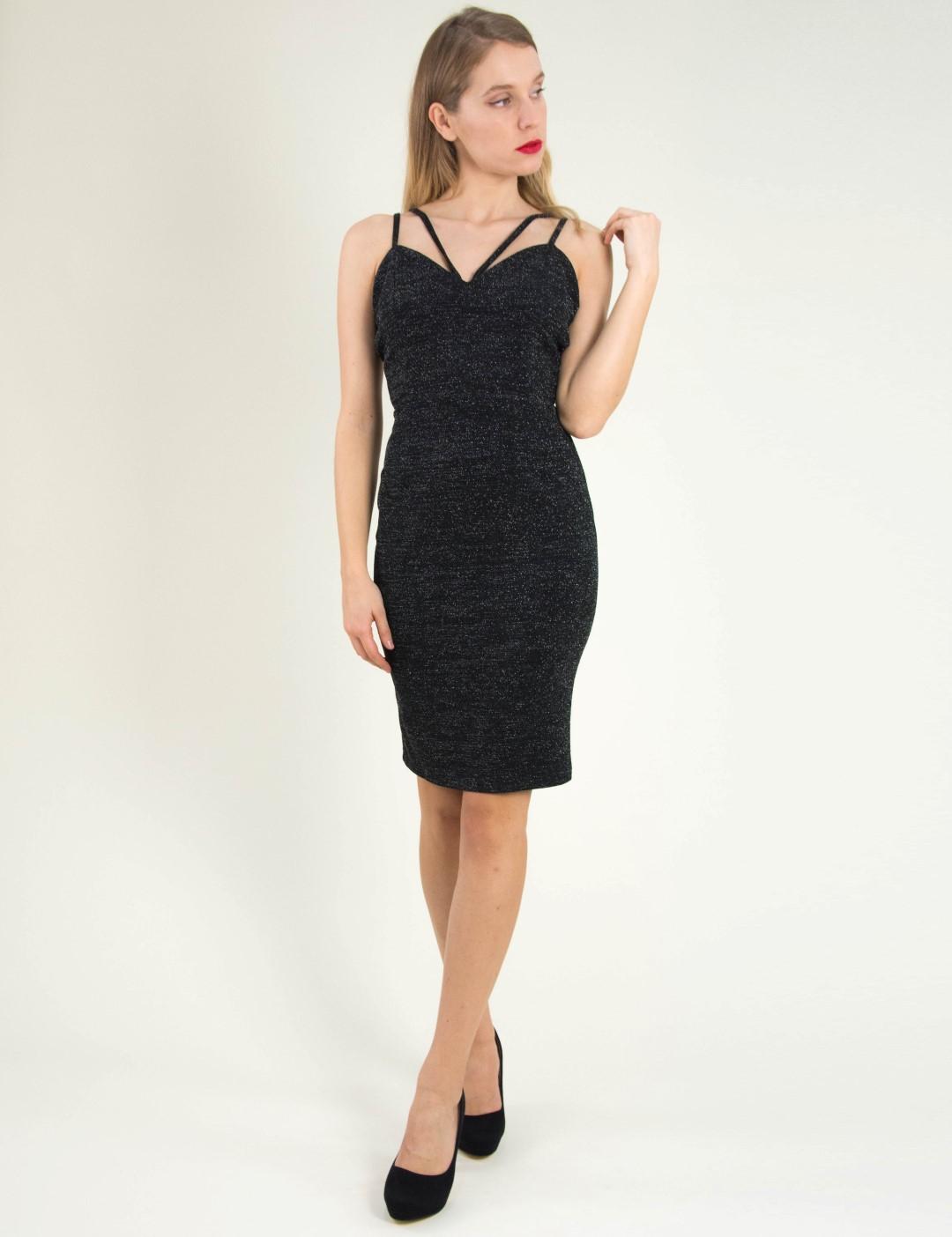 47c38a079c3 Γυναικείο μαύρο εφαρμοστό φόρεμα Lurex ραντάκι 8307174