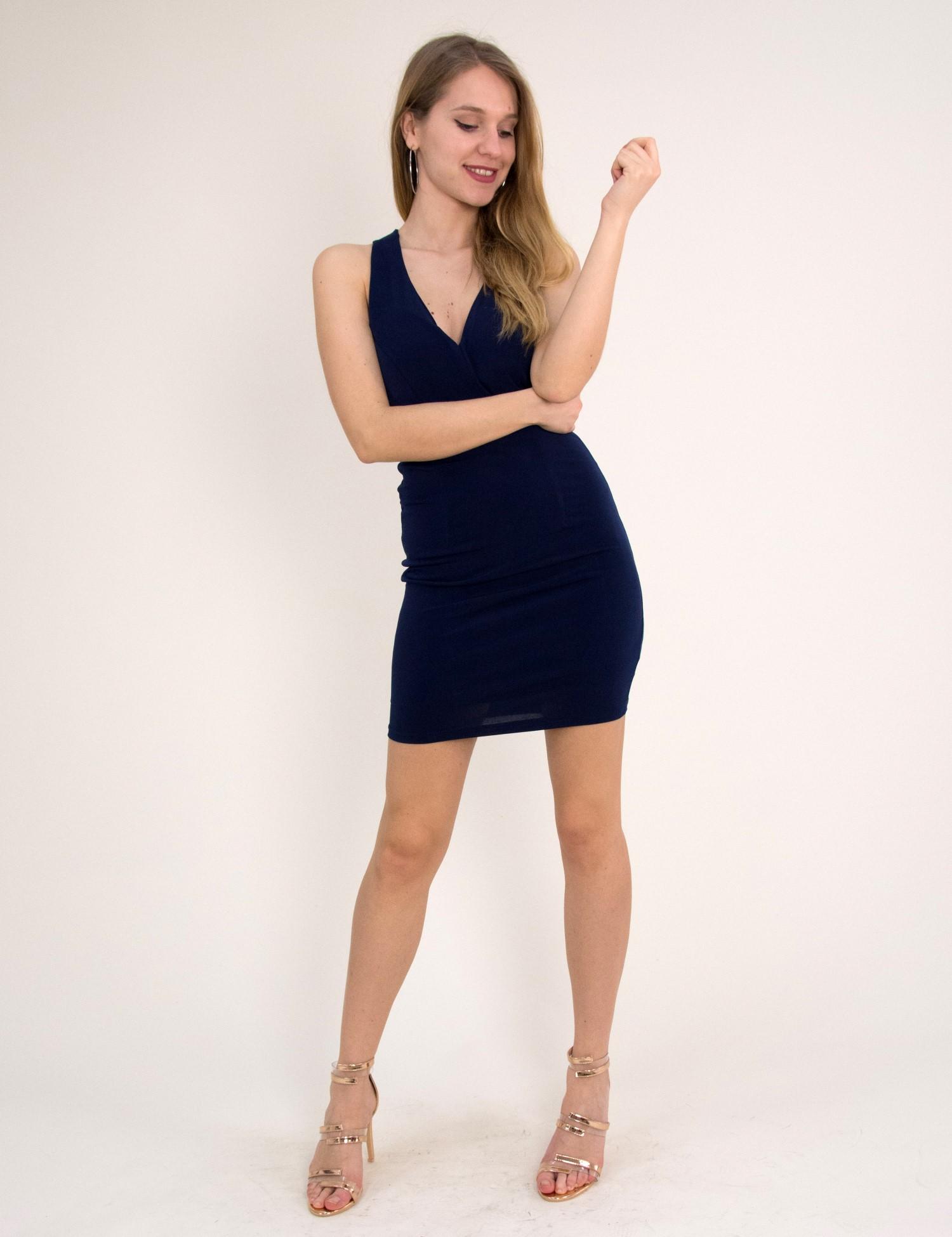 c35383d5a748 Γυναικείο κοντό φόρεμα με βαθύ ντεκολτέ μπλε 7466165
