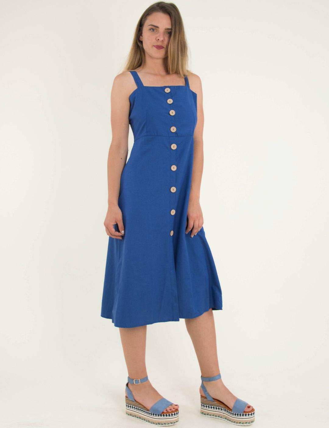 9c0d10fb6fb Γυναικείο μπλε ραφ μίντι φόρεμα με ράντες και κουμπιά 9926X