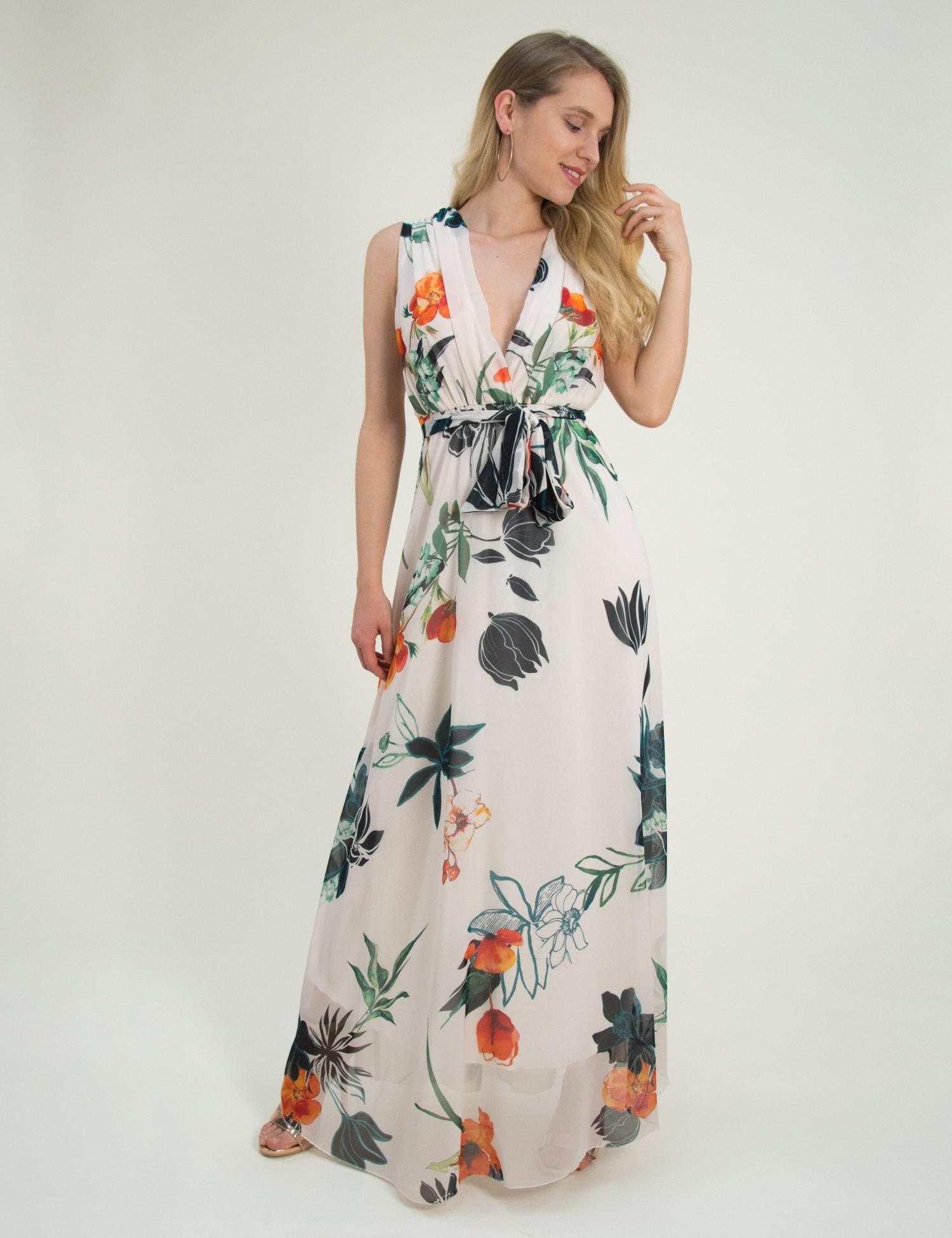 Γυναικείο μάξι φόρεμα εμπριμέ μπεζ άνοιγμα στήθος πλατη 8214318Q a4d02f554cf