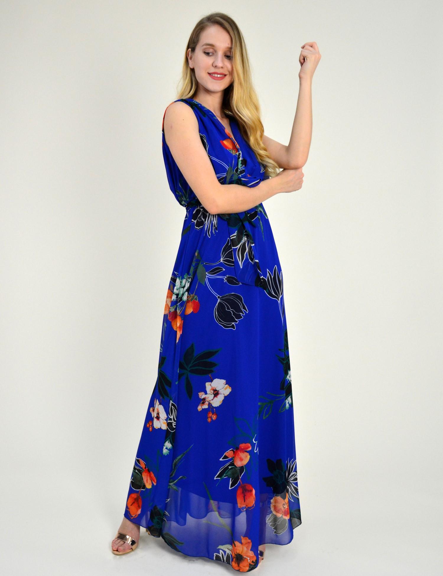 a7a00716a765 Γυναικείο μάξι φόρεμα εμπριμέ μπλε άνοιγμα στήθος πλατη 8214318F