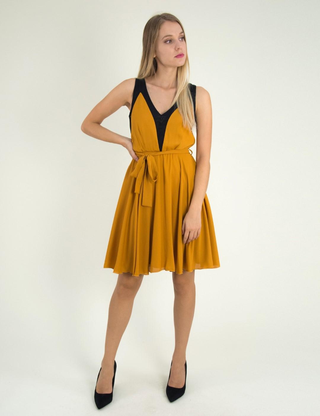 aa06e2ab43 Γυναικείο ώχρα αμάνικο φόρεμα κλος τούλι 8317229G