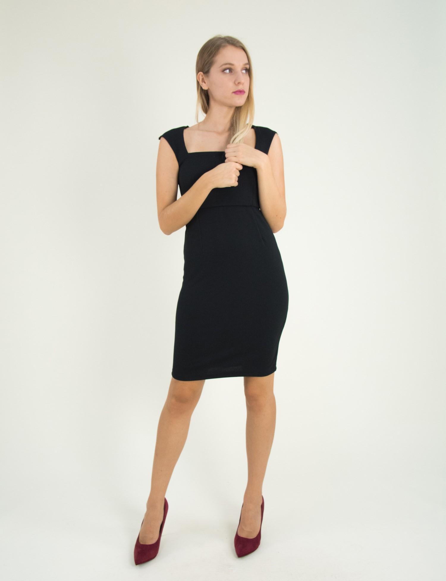 Γυναικείο μαύρο Scuba midi φόρεμα μονόχρωμο 8305129 ddfb0e4f306