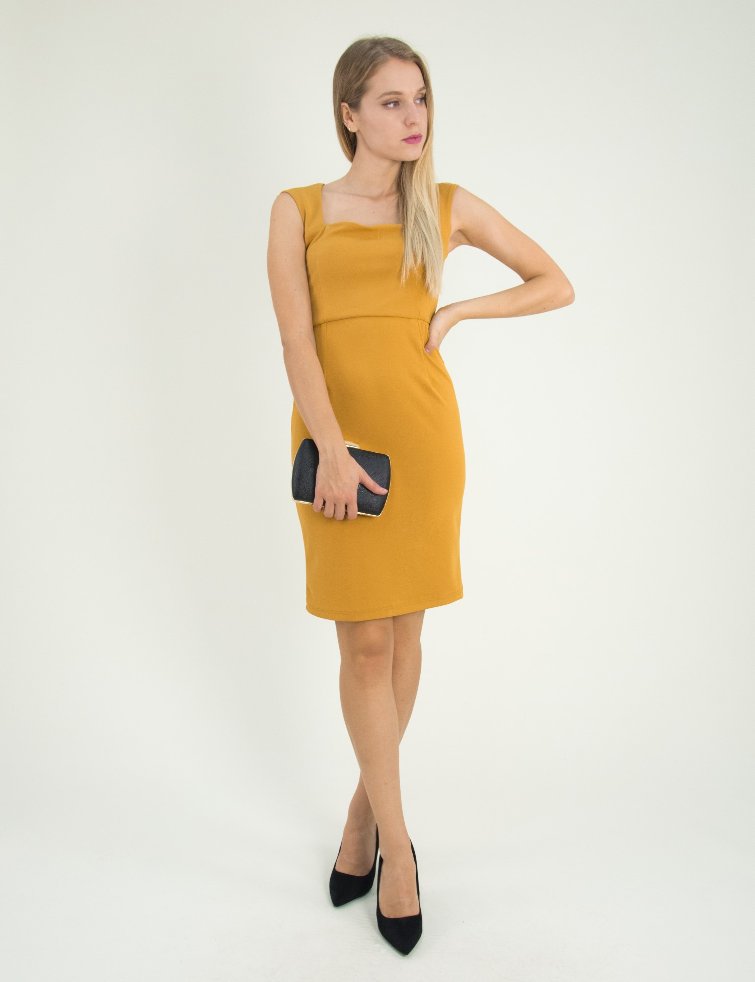 Γυναικείο ώχρα Scuba midi φόρεμα μονόχρωμο 8305129G 5725a09837a