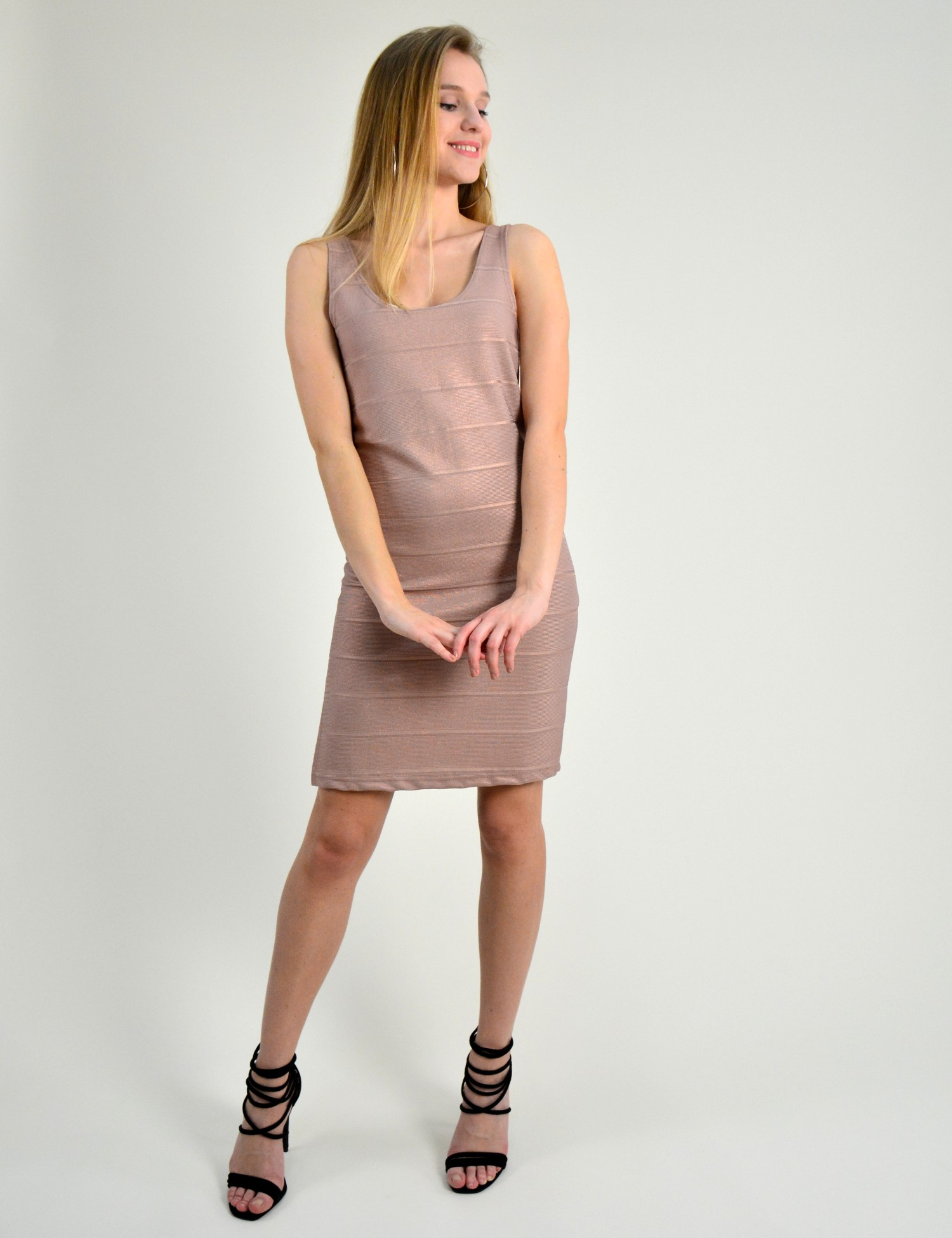 a89c1d3df611 Γυναικείο αμάνικο μίντι φόρεμα Lipsy σομόν ριπ 2170614C