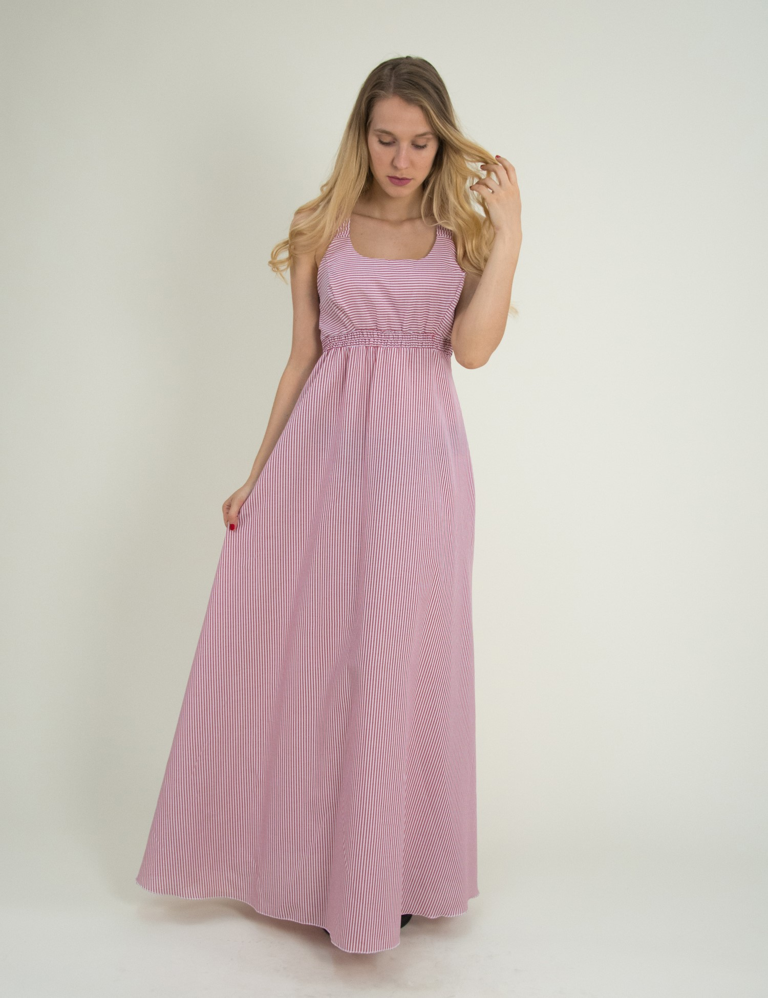 9b41d106cd9b Torouxo Γυναικείο Maxi ριγέ φόρεμα Coocu κόκκινο χιαστί πλάτη 92381C