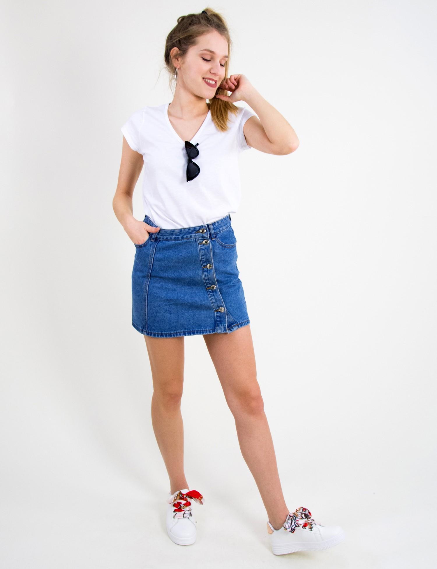 Γυναικεία τζην ψηλόμεση φούστα μπλε λοξά κουμπιά ITA6120 914e09221a1