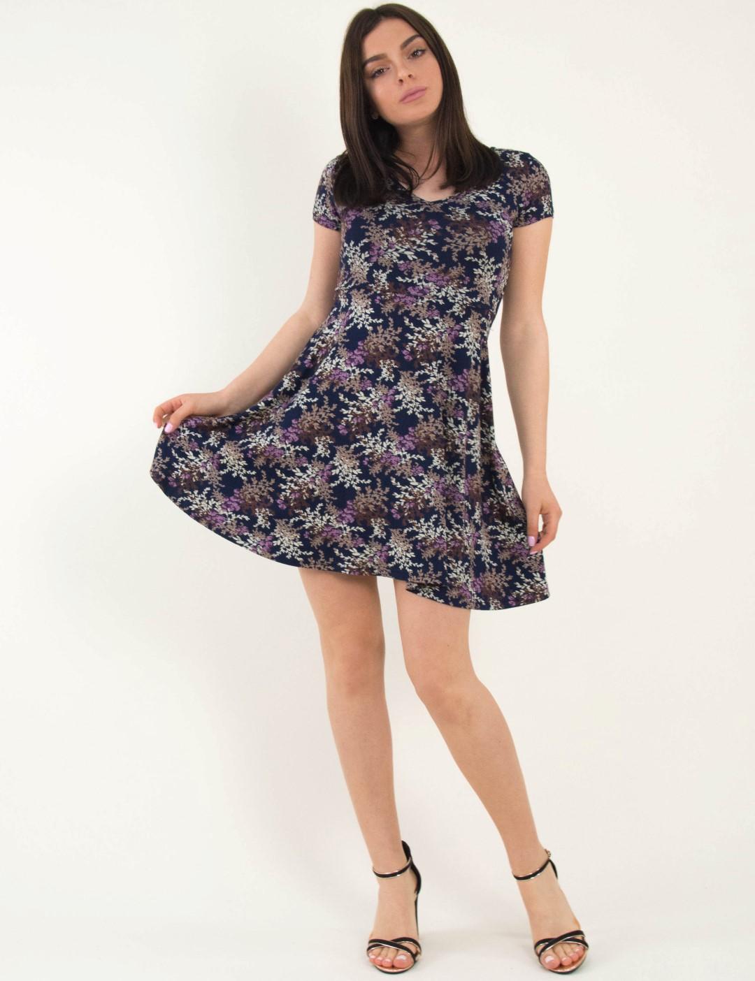 b5db7f7fa04b Γυναικείο μωβ φόρεμα μίνι κλος φλοράλ Benisssimo 91004L