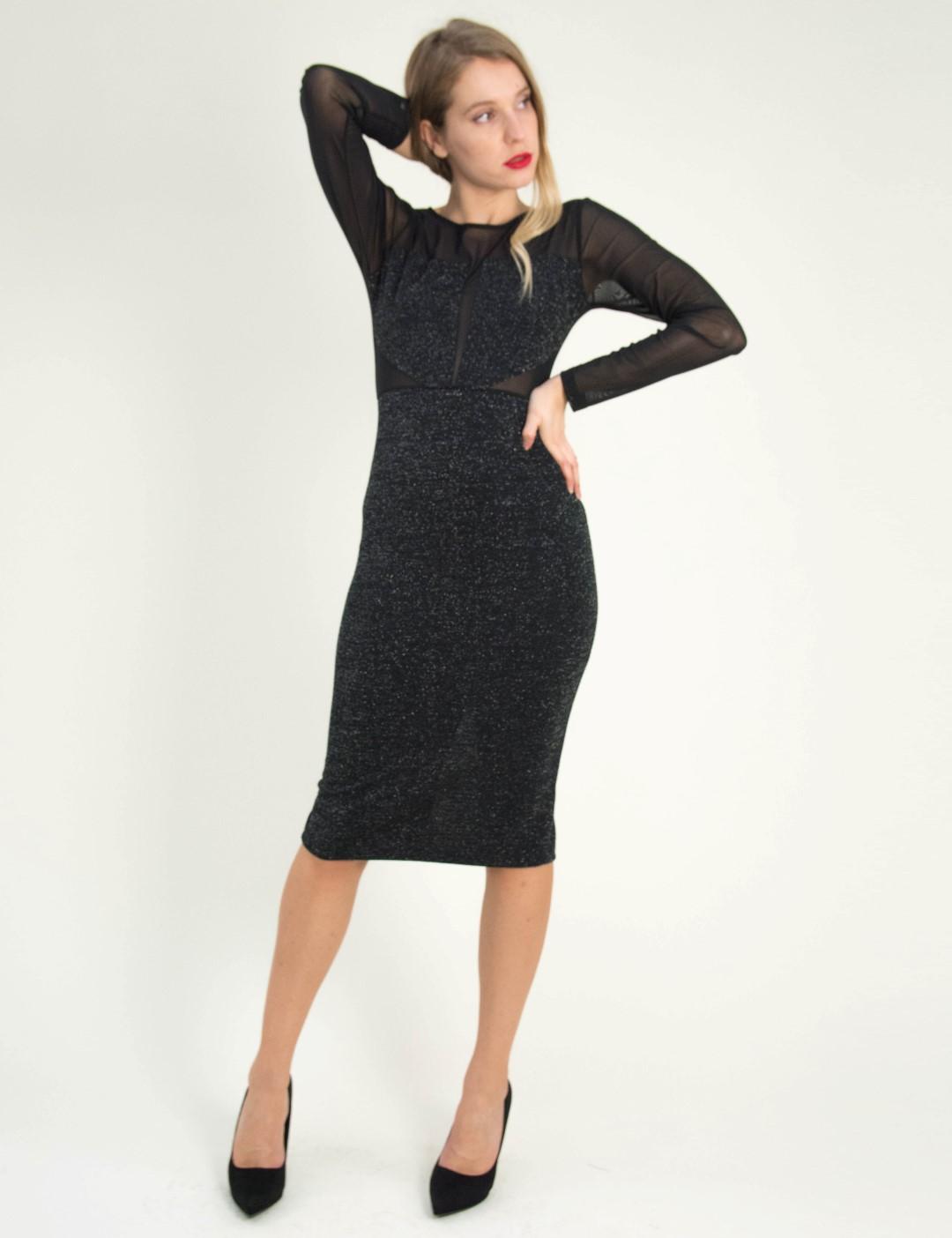 2d7b29fddefe Γυναικείο μαύρο μακρυμάνικο φόρεμα Lurex διαφάνεια 8486195