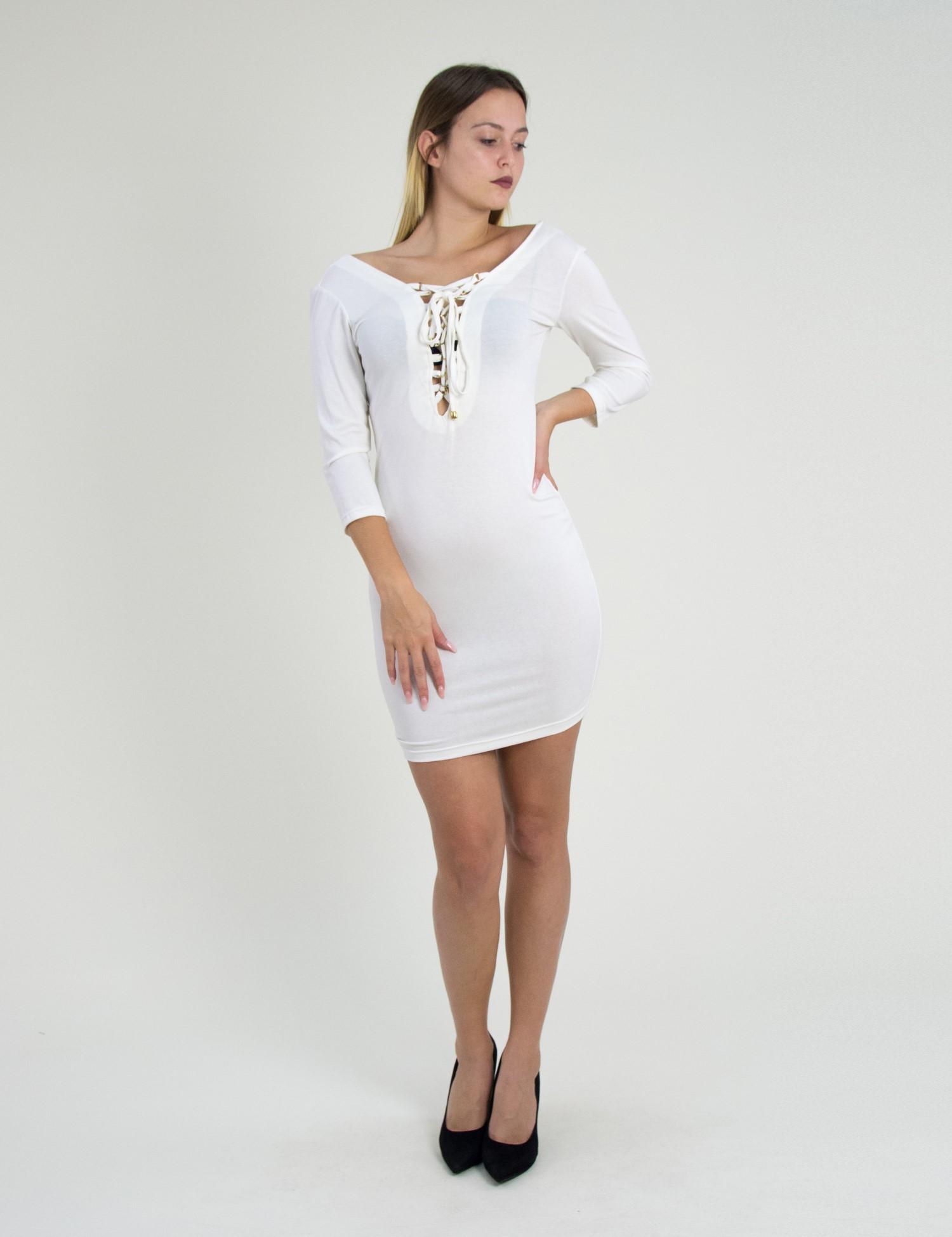 9eeca10e43e Benissimo εκρού φόρεμα με χιαστί δέσιμο 172891081F