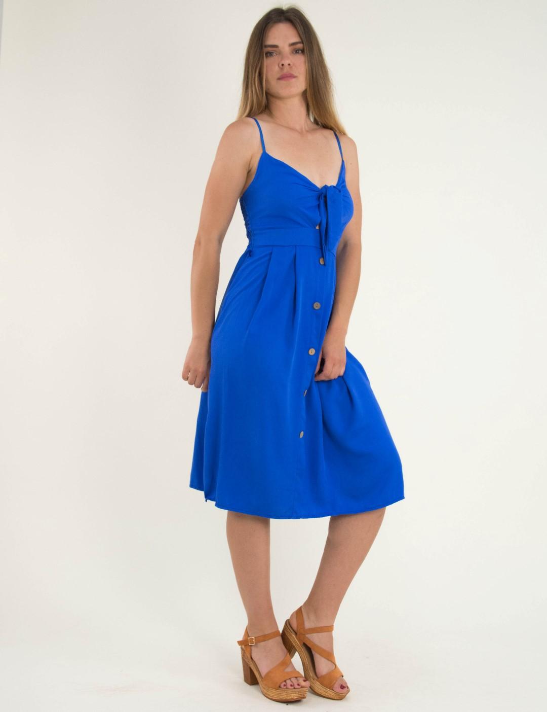 02acf44967e5 Γυναικείο μπλε · Γυναικείο ρουά midi φόρεμα ραντάκι κουμπιά 9103J
