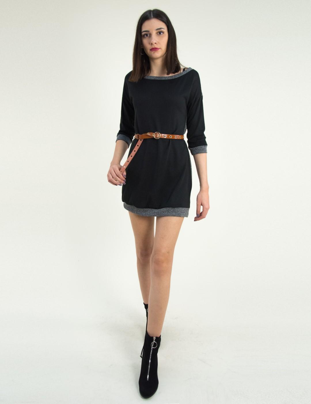 ace384d2c96b Γυναικείο μαύρο φόρεμα με ζακάρ σχέδιο κοντό μανίκι 91098G