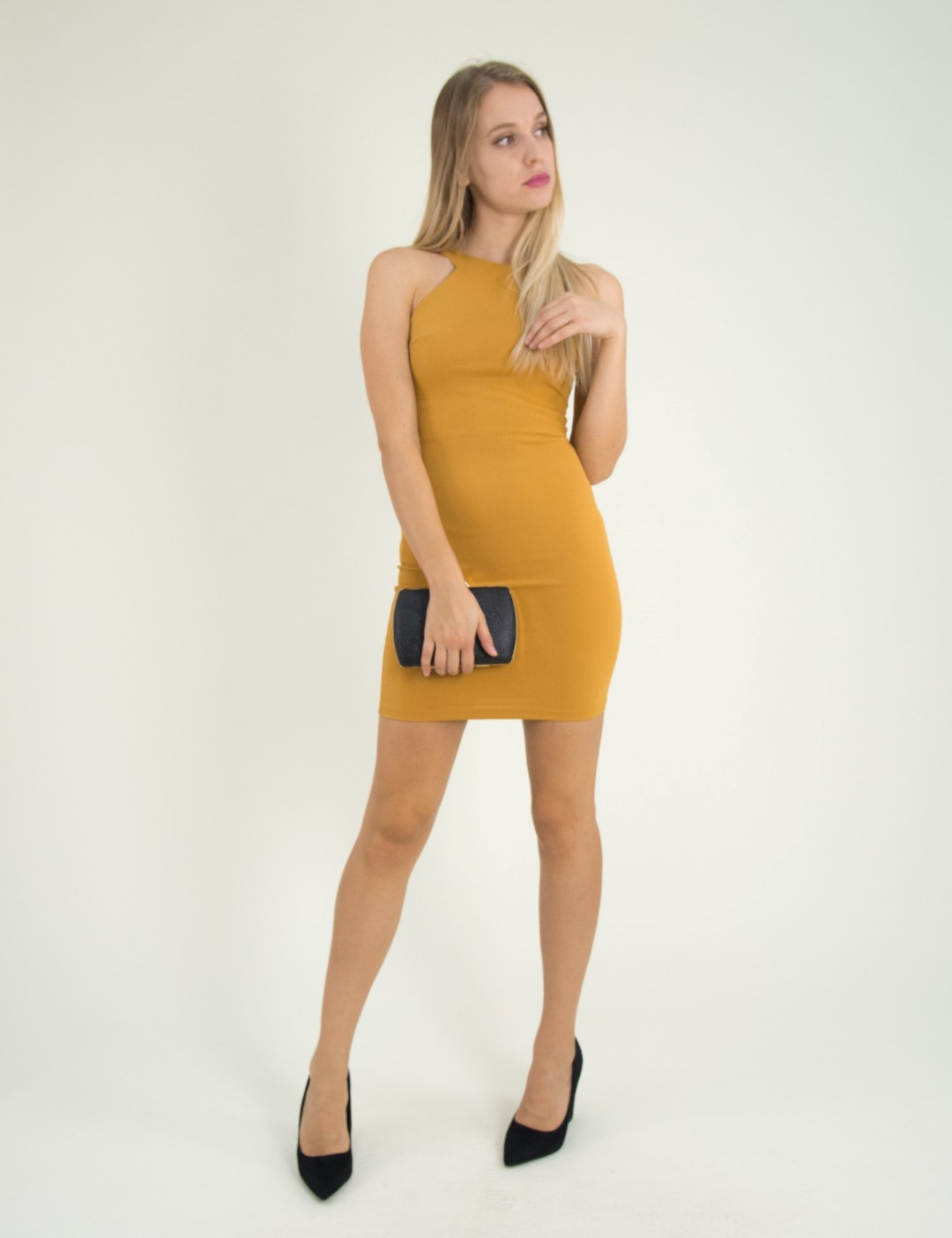 3ce248433841 Torouxo Γυναικείο ώχρα ελαστικό φόρεμα Cocktail 014100001G