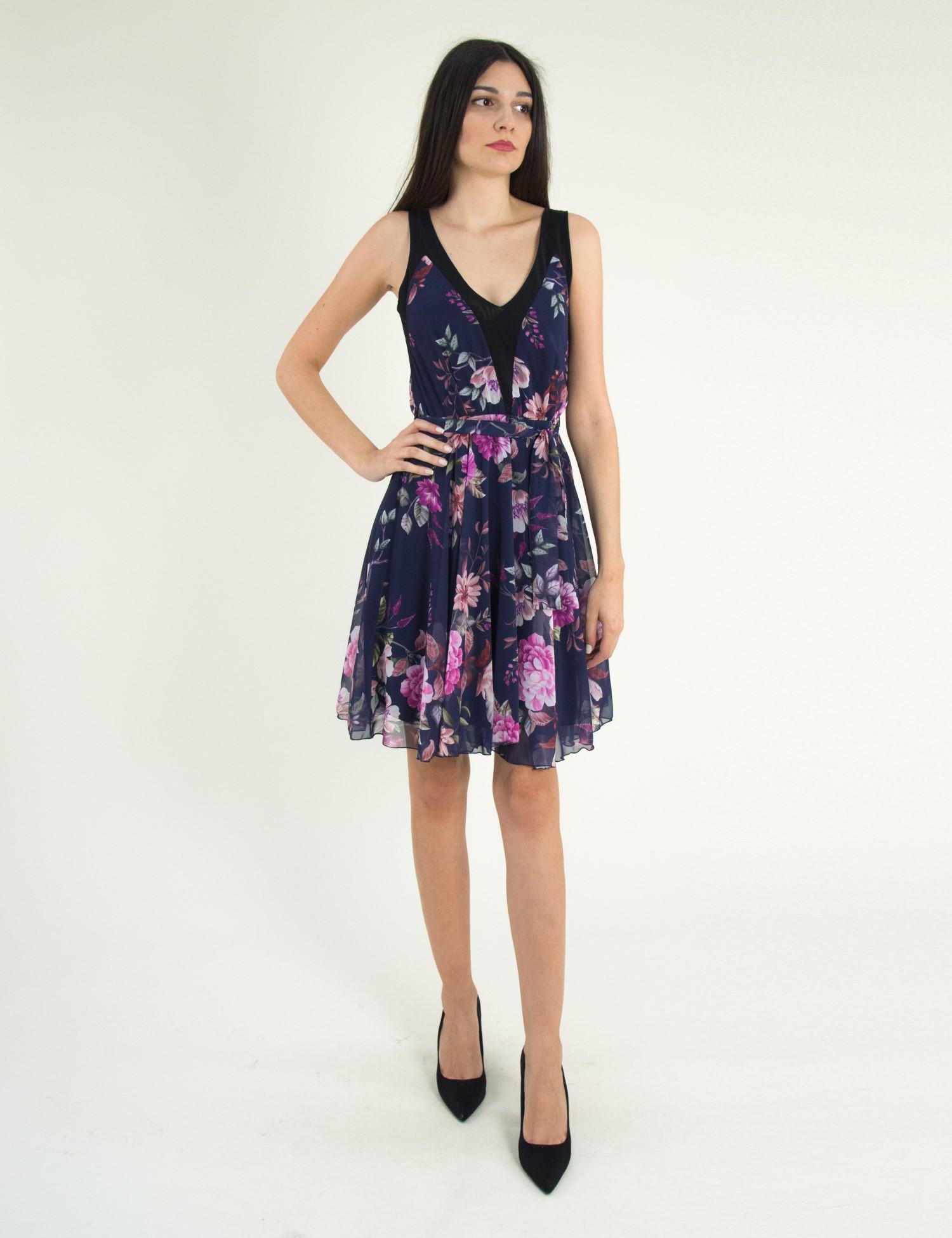 d1192c9d7c7 Γυναικείο μπλε φλοράλ αμάνικο φόρεμα κλος τούλι 8316275G