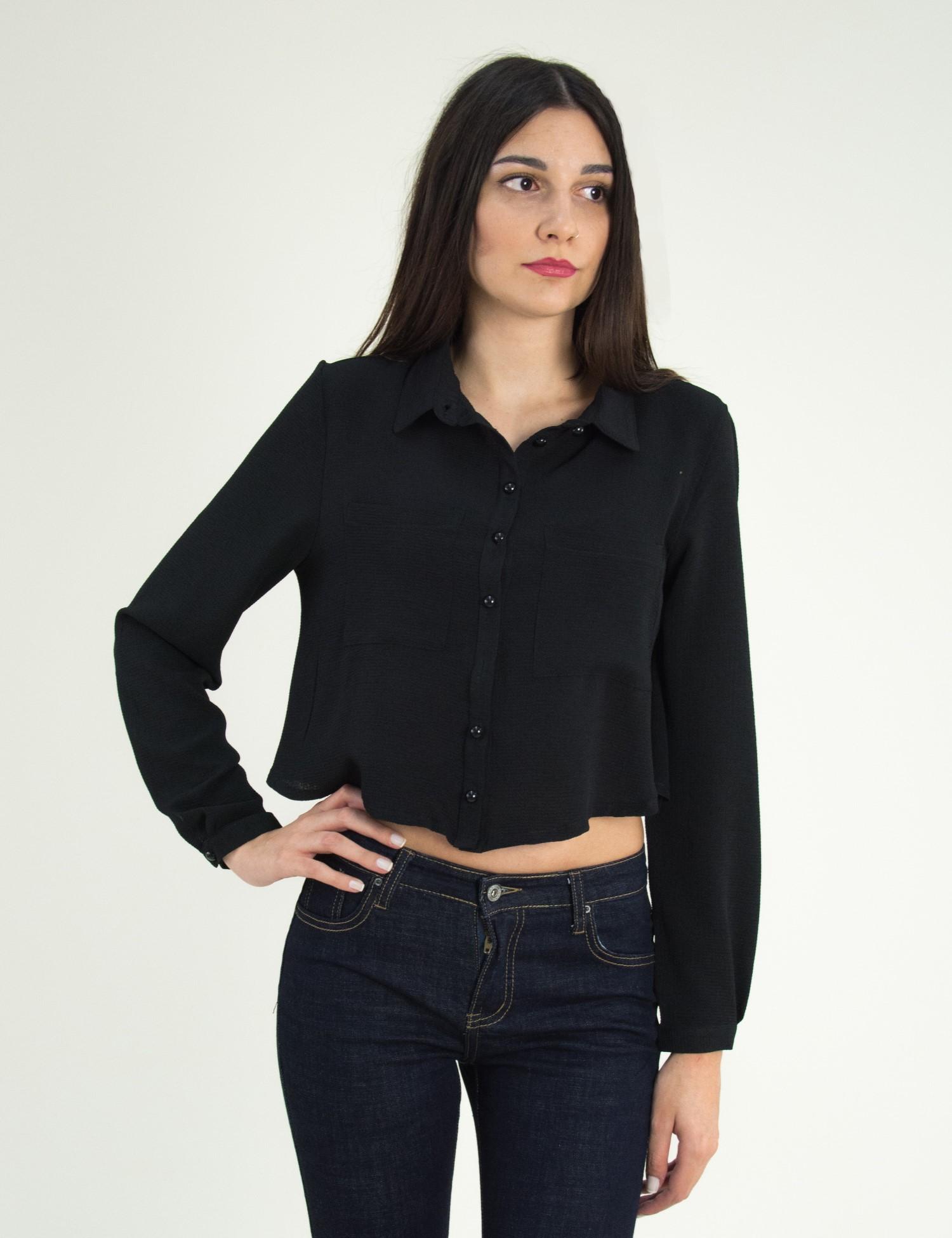 dc7674cccaee Γυναικείο μαύρο κοντο πουκάμισο τσεπάκια πέρλες Coocu 21990F