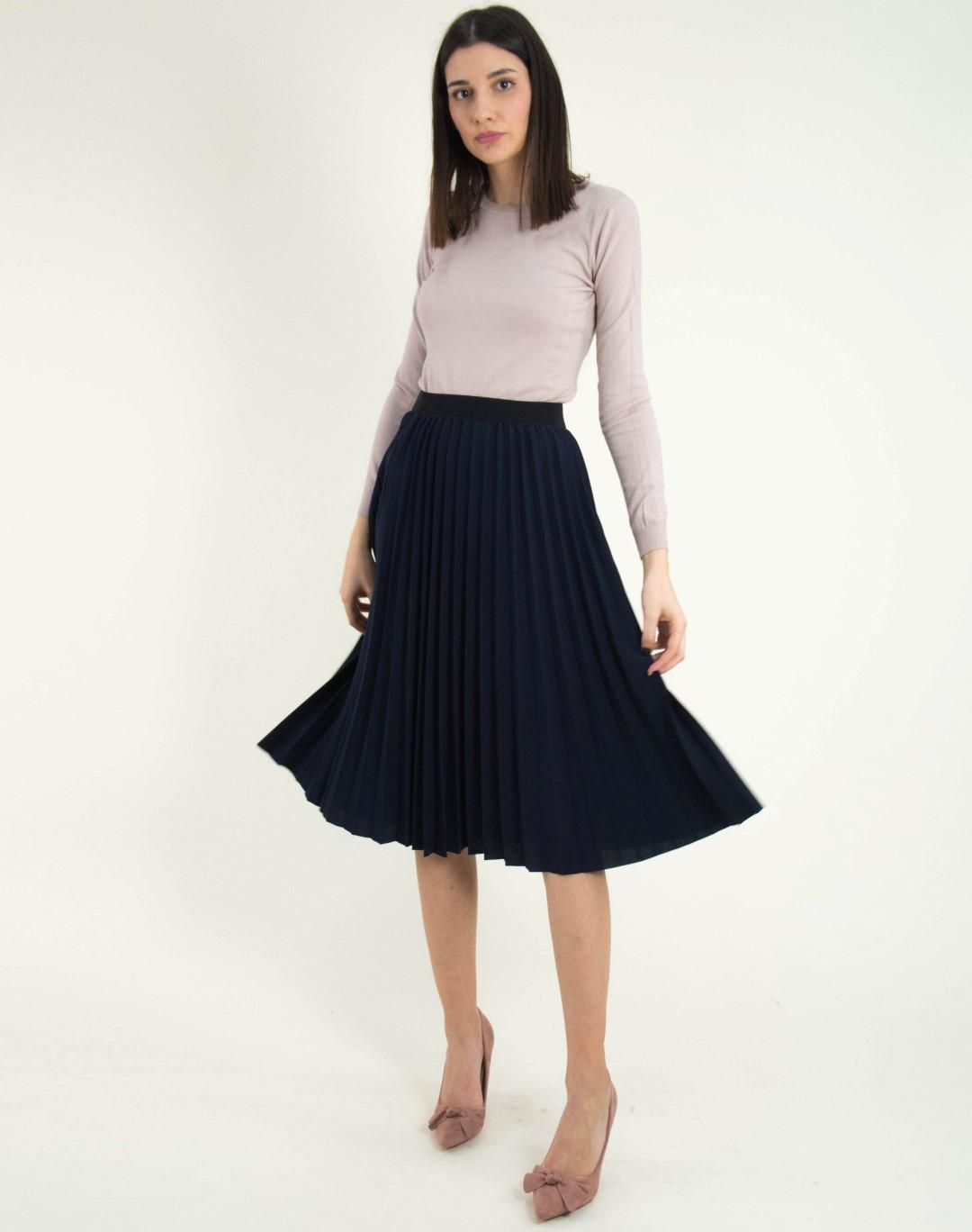 Γυναικεία μπλε πλισέ midi φούστα με λάστιχο 118211L 5c7c1bbb77f