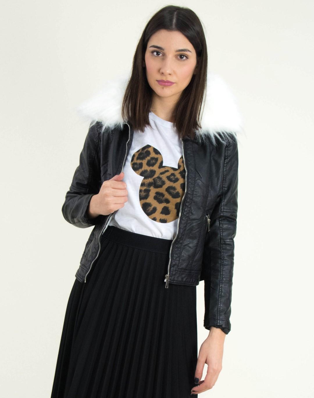 Γυναικείο μαύρο Jacket δερματίνη λευκή γούνινη επένδυση D263 b62ea8bd88e