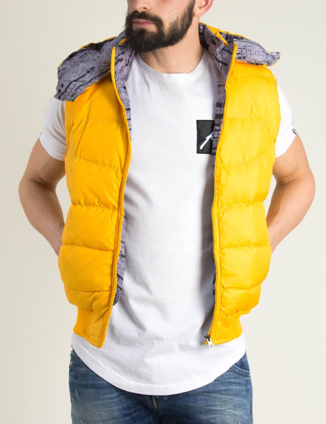 257689e8428c Ανδρικό κίτρινο αμάνικο Jacket κουκούλα Madmext 2789R