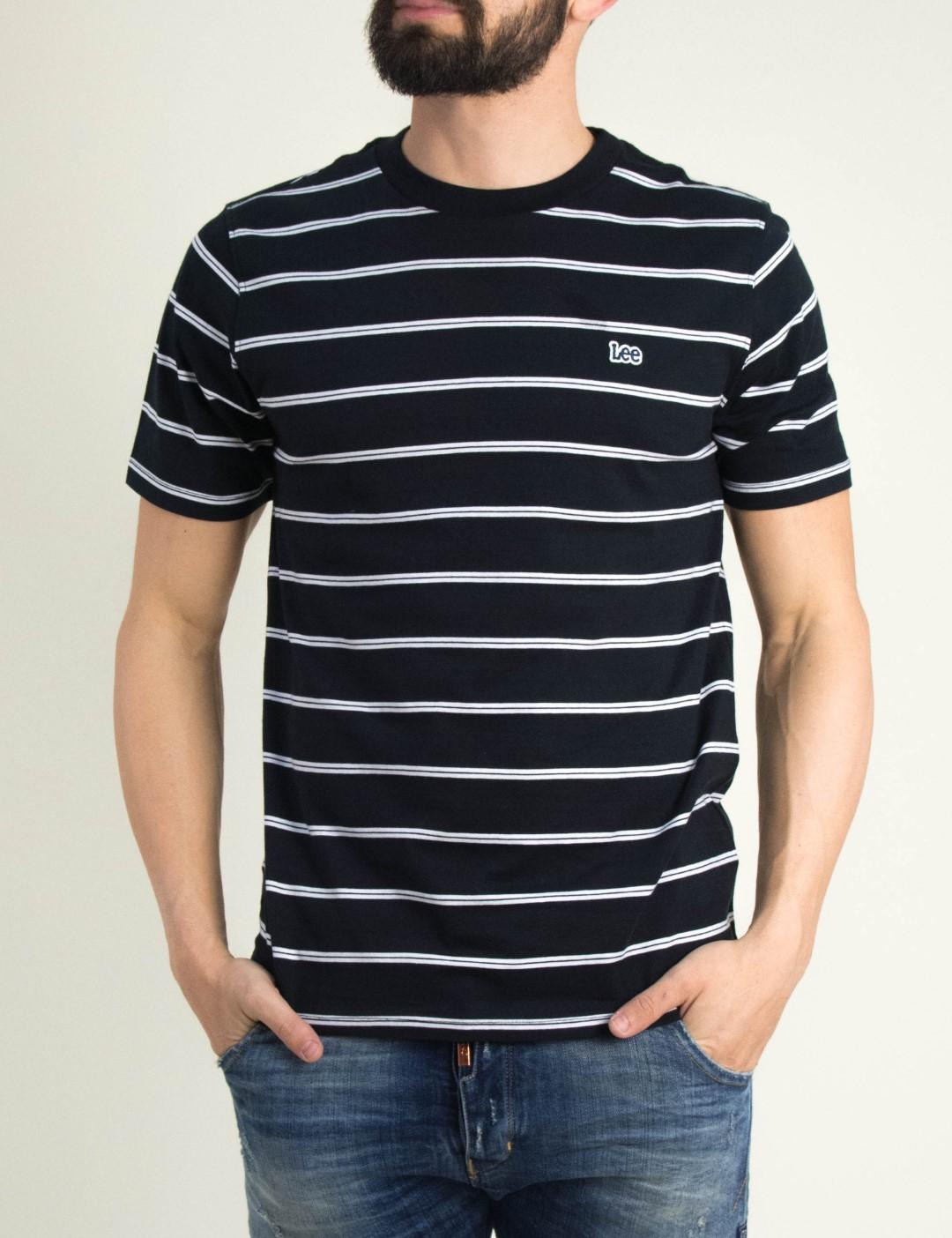 13e31651a654 Ανδρικό μαύρο με ρίγες κοντομάνικο μπλουζάκι Lee L61BWQ01