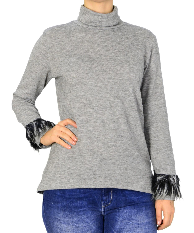 0fd97be821c5 Γυναικεία μπλούζα ζιβάγκο Lipsy γκρι γουνάκι 2170162C