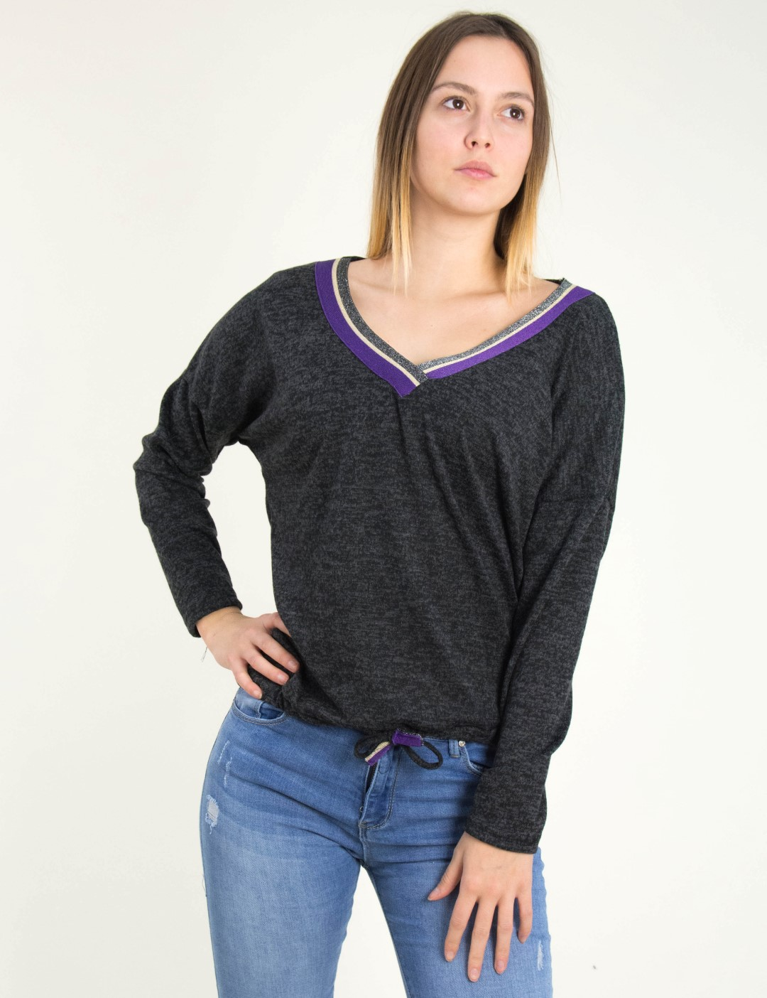 a66158c688b9 Γυναικεία ανθρακί μακρυμάνικη μπλούζα Ve Benissimo 39479X