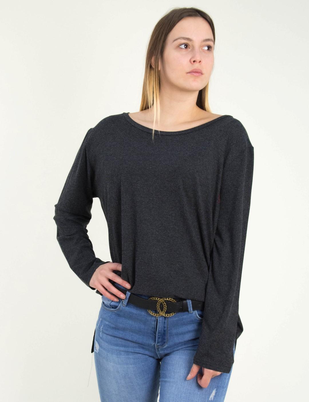 d8ef3f146747 Γυναικεία γκρι ασσύμετρη μπλούζα Oversize 11701807