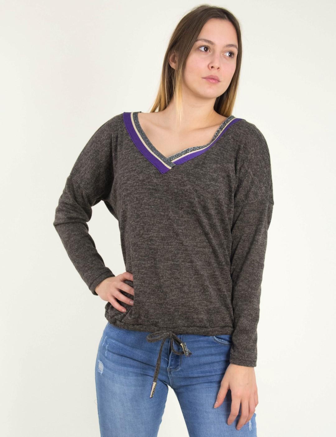 Γυναικεία καφέ μακρυμάνικη μπλούζα Ve Benissimo 39479G 7231e962fc0