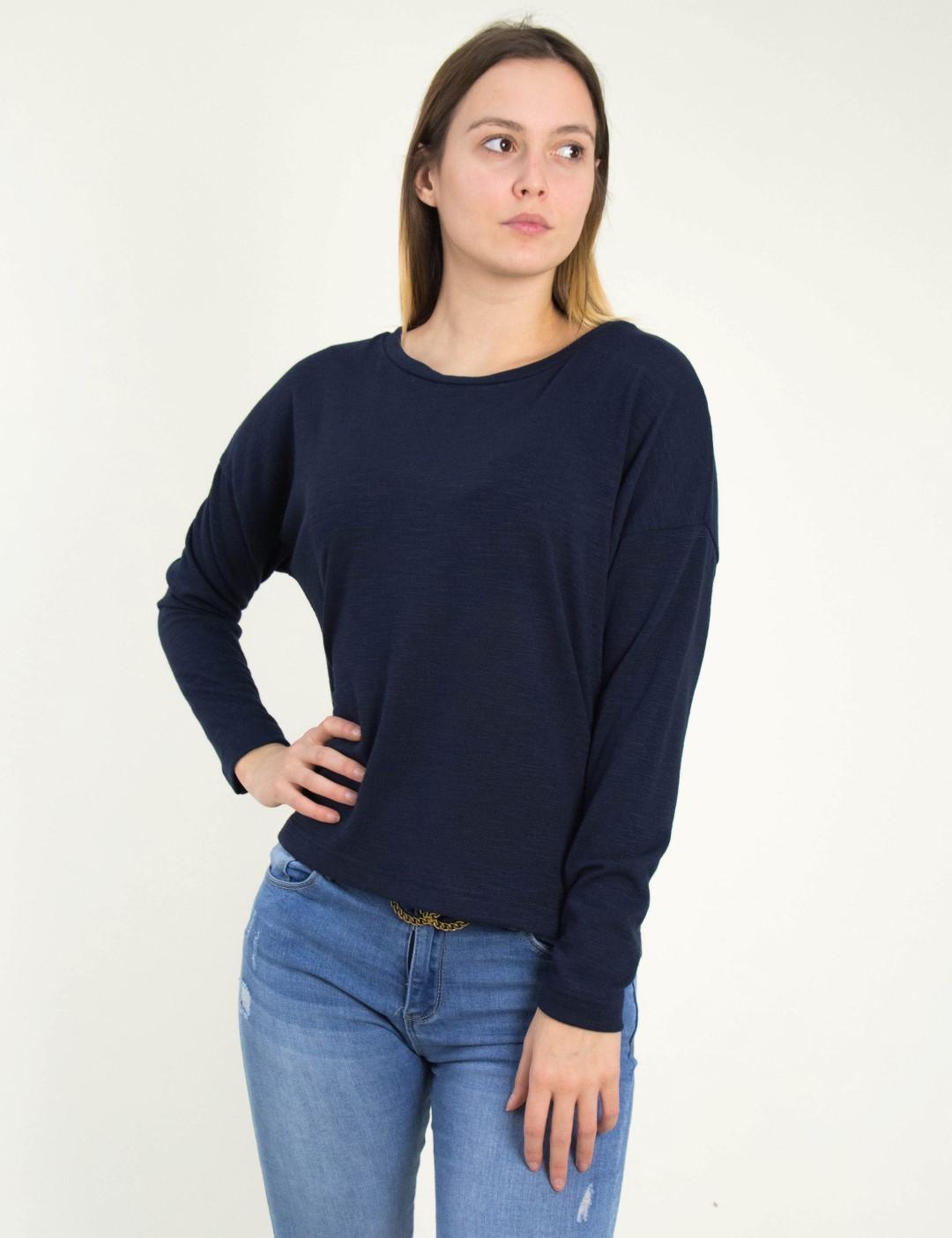 cd1e11236d40 Γυναικεία μπλε μακρυμάνικη μπλούζα κουμπιά Cocktail 014101034