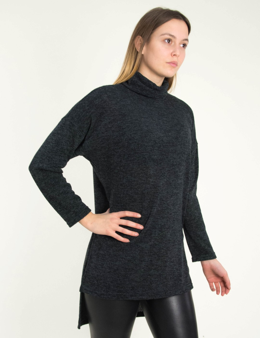 68c559e109b5 Γυναικεία ανθρακί ασσύμετρη πλεκτή μπλούζα ζιβάγκο 11760328