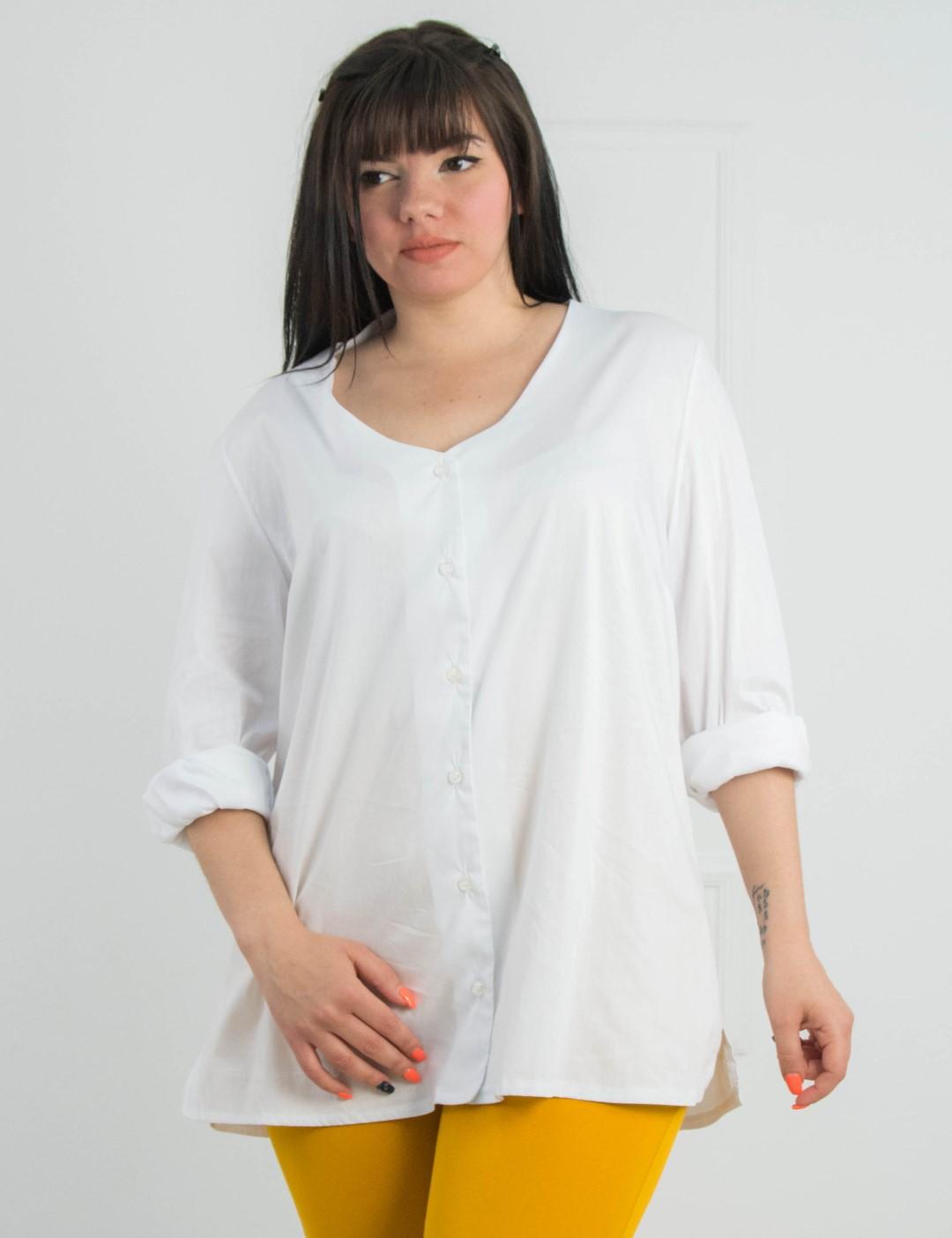 2c2e82825ee2 Γυναικεία λευκή πουκαμίσα μονόχρωμη Plus size 11701908
