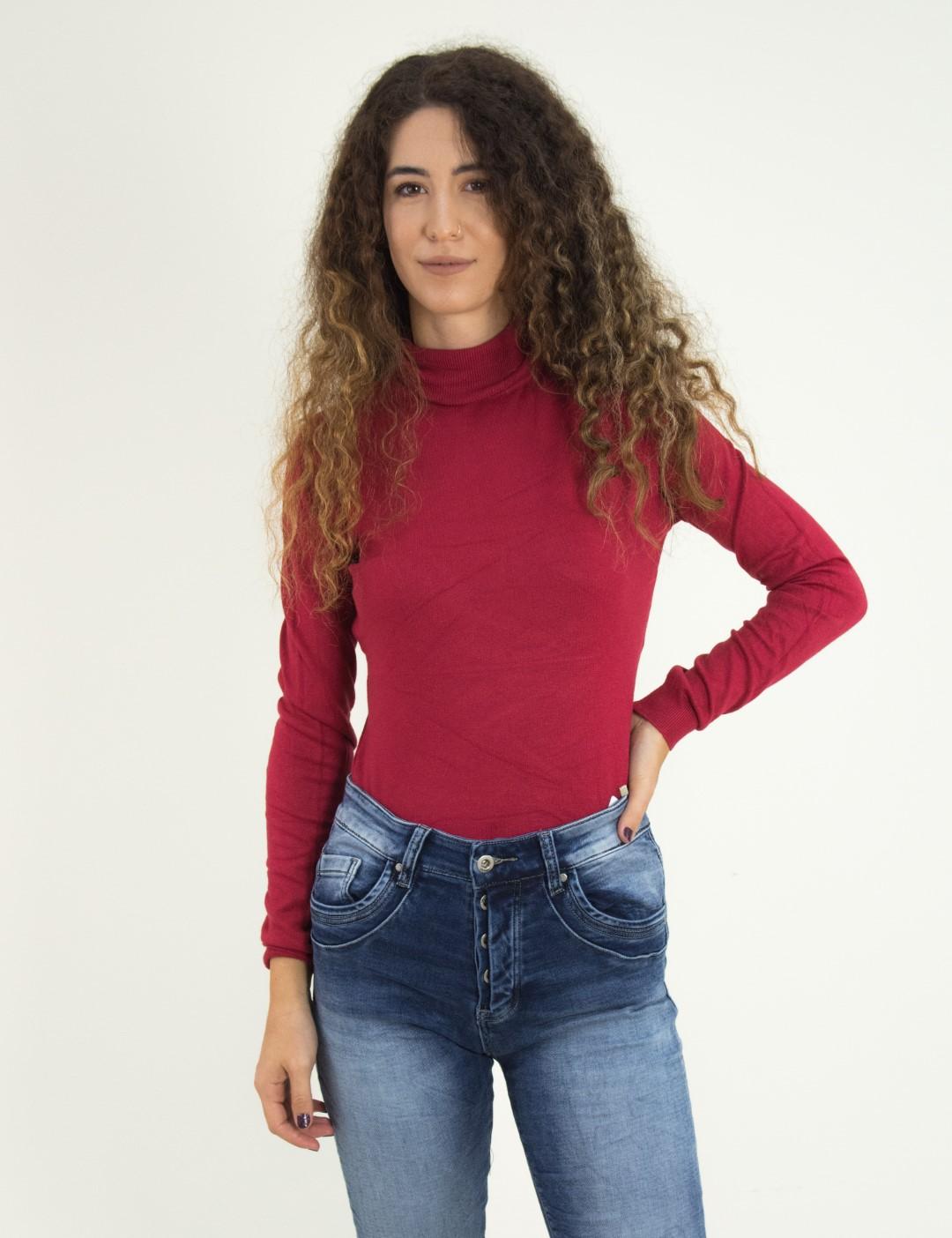 5f6de6017719 Torouxo Γυναικείο κόκκινο πουλόβερ ζιβάγκο μονόχρωμο MX3009D
