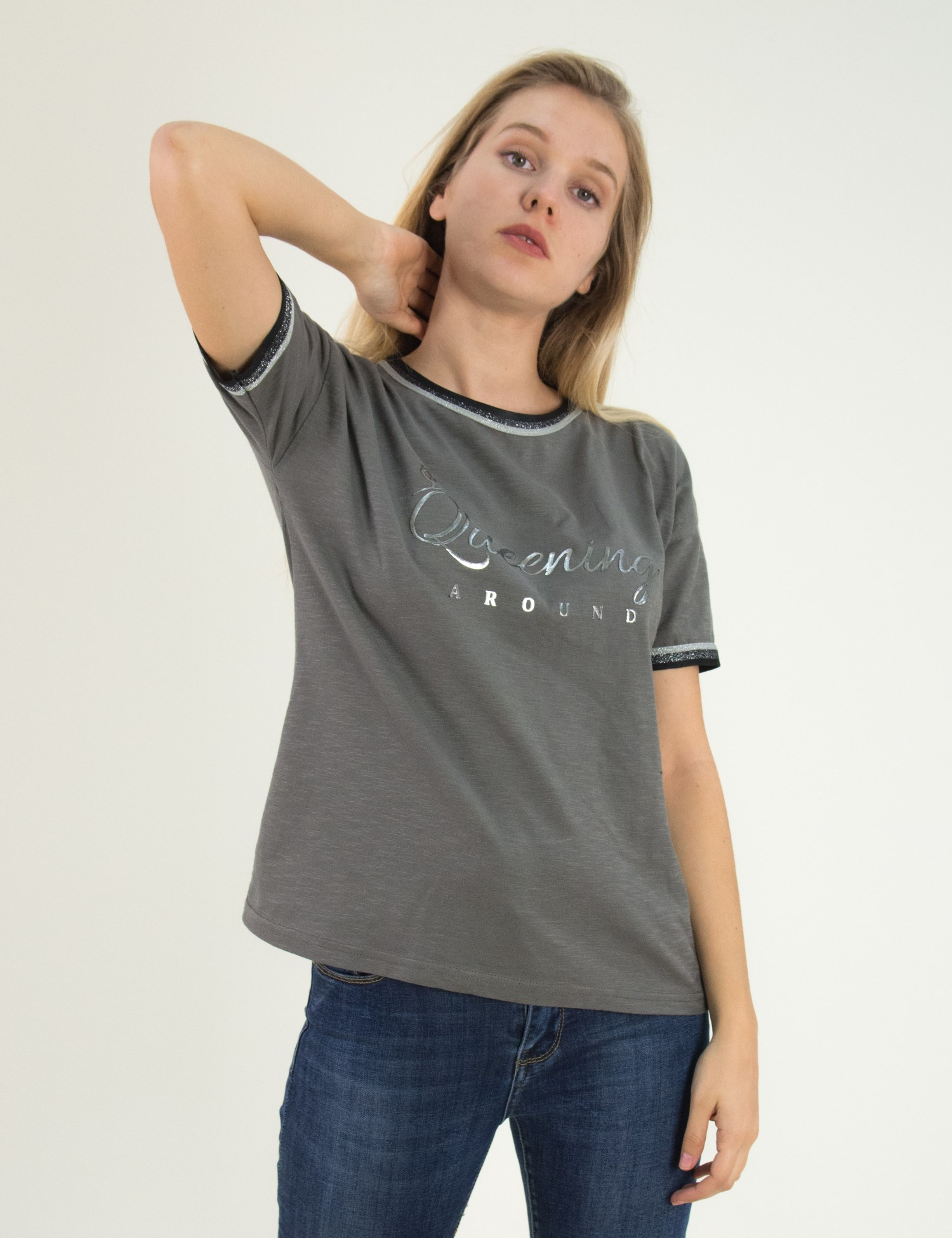 6f1ffa889ebc Γυναικείο γκρι κοντομάνικο μπλουζάκι Lipsy Glitter 2180003B