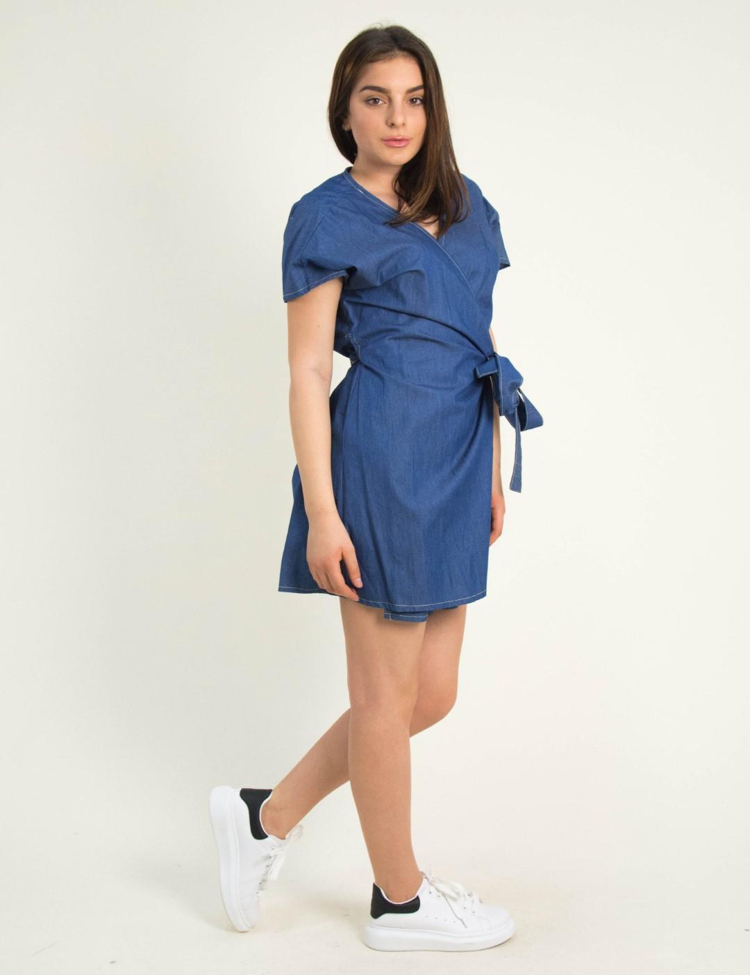 90a2d8910b57 Torouxo Γυναικείο μπλε mini τζιν φόρεμα κρουαζέ 91991