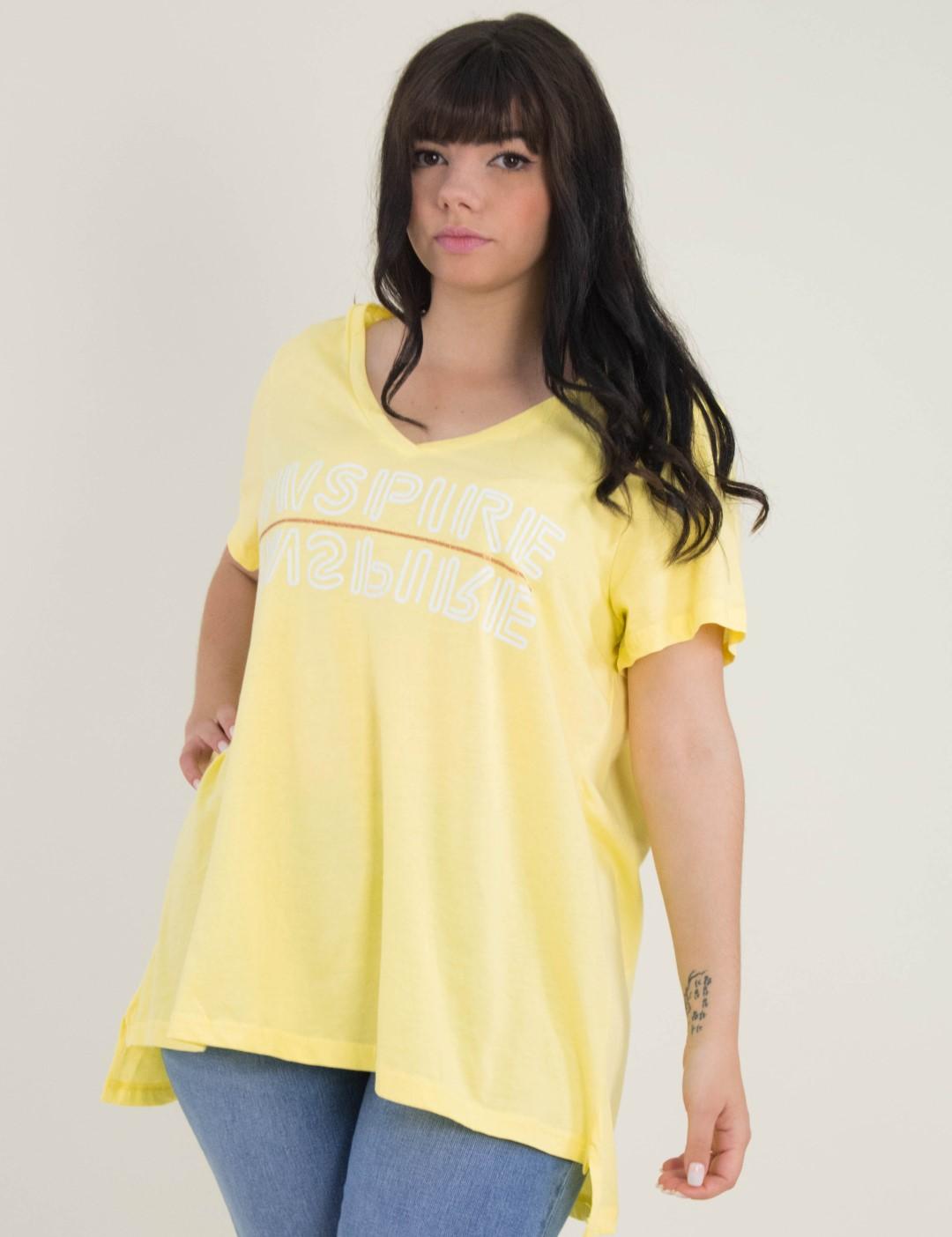 2c03f9fa3e3a Γυναικείο κίτρινο Tshirt Plus Size με τύπωμα So Sexy 31988L