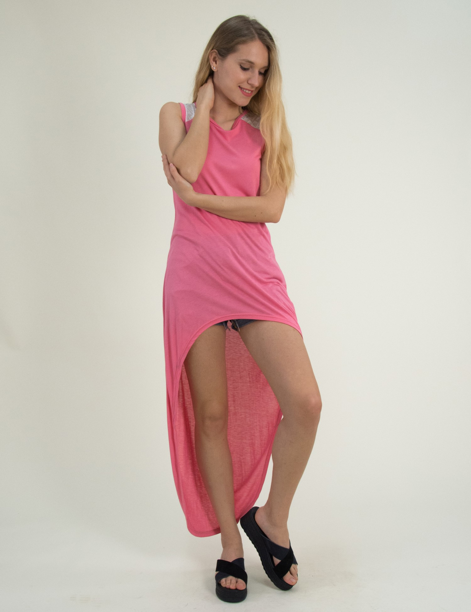 Γυναικεία ροζ ασύμμετρη μπλούζα So Sexy 165031949C 6269a10d33c