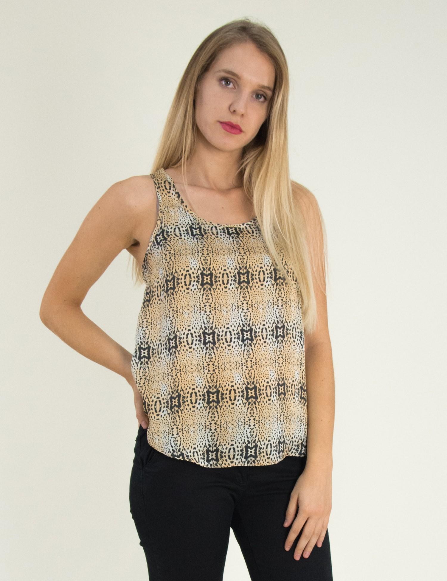 c758ffb60758 Γυναικεία αμάνικη μπλούζα με animal print 162101