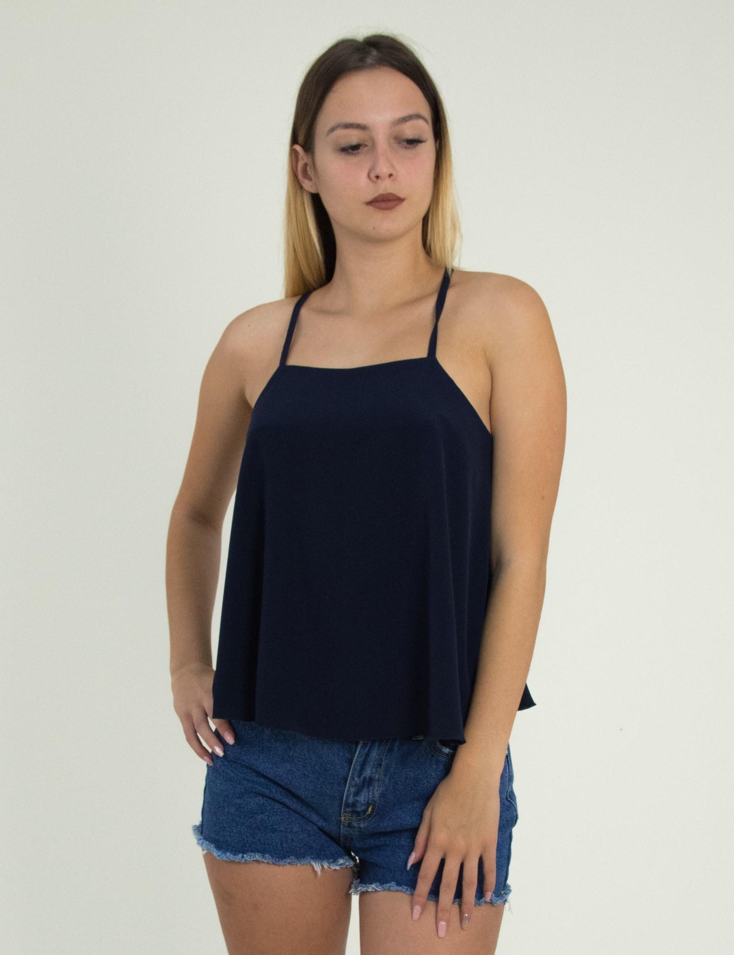 da31e82fbec0 Γυναικεία μπλε μπλούζα με ράντες μονόχρωμη άνοιγμα 1180155R