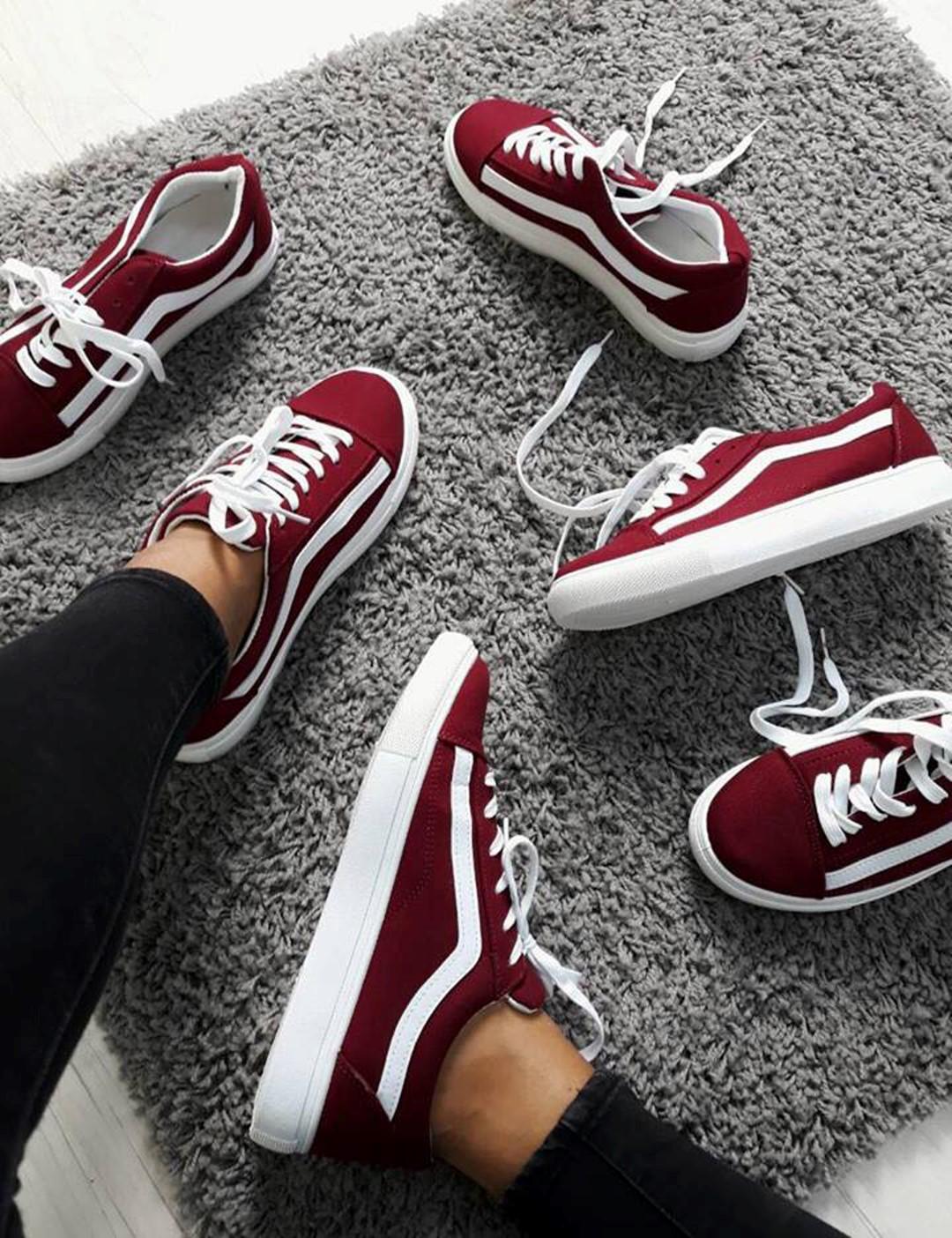 Γυναικεία μπορντό πάνινα Sneakers με διχρωμία M622Q e1f4109447a