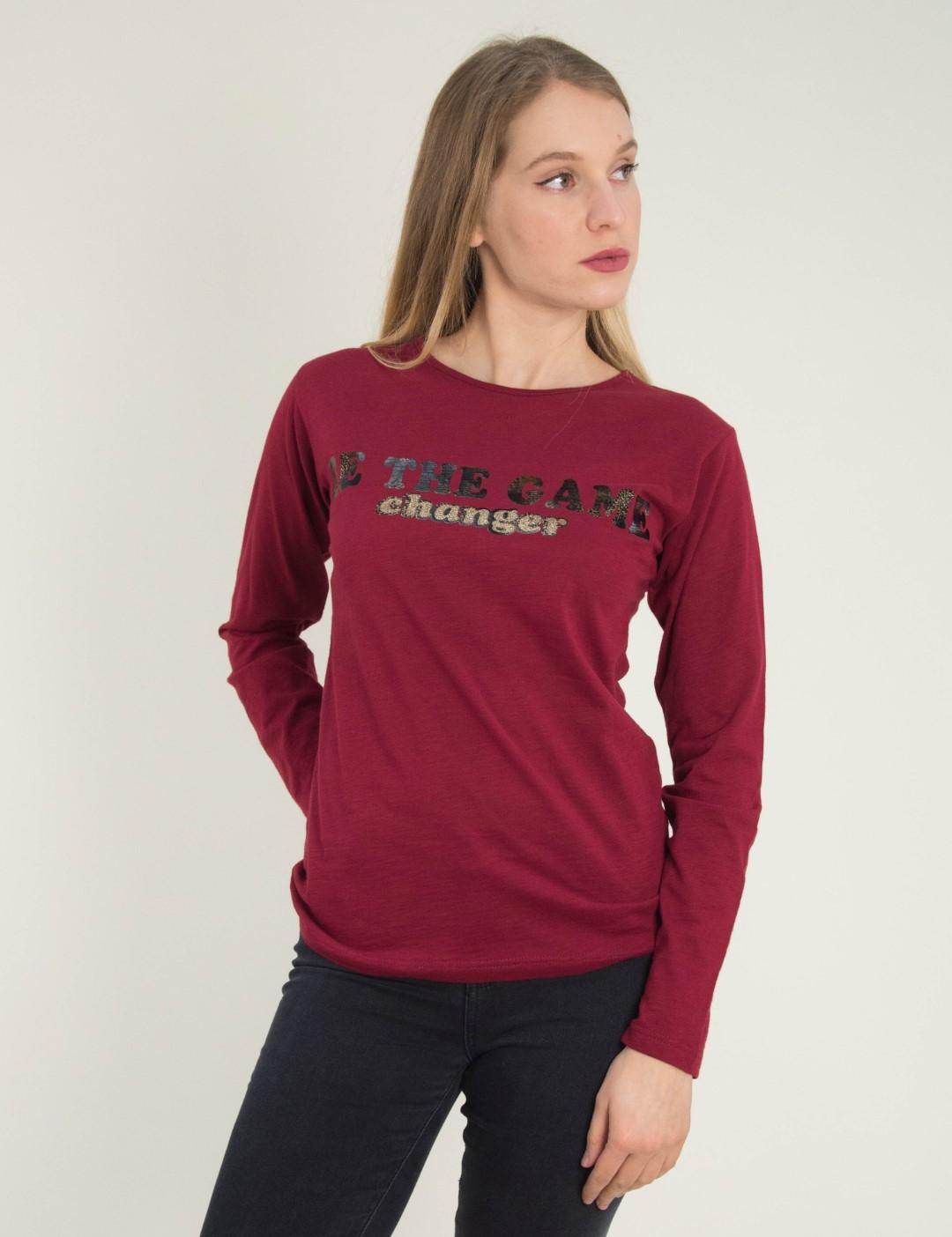 2132565bec90 Γυναικεία μπορντό μακρυμάνικη μπλούζα τύπωμα 1175954C