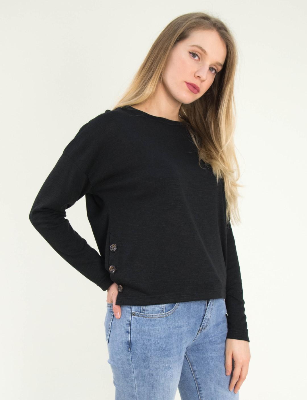 35ba022b45e6 Γυναικεία μαύρη μακρυμάνικη μπλούζα κουμπιά Cocktail 014101034G