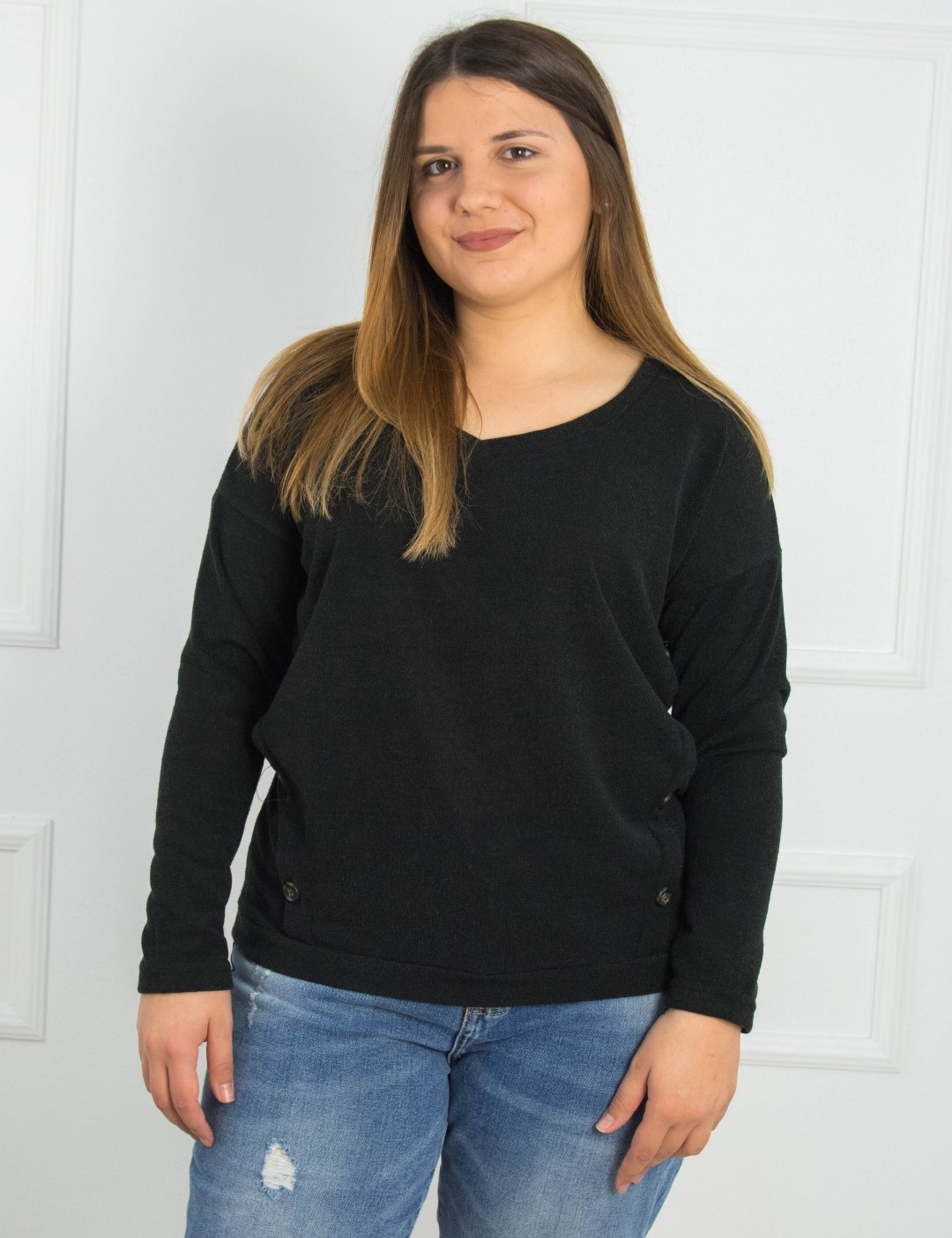 5e6062786798 Γυναικεία μαύρη μακρυμάνικη μπλούζα κουμπιά Honey 39530