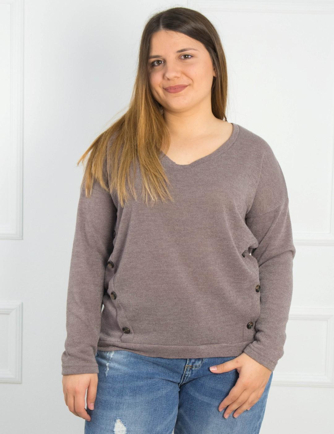 6bbc64ae2a09 Γυναικεία μπεζ μακρυμάνικη μπλούζα κουμπιά Honey 39530Z