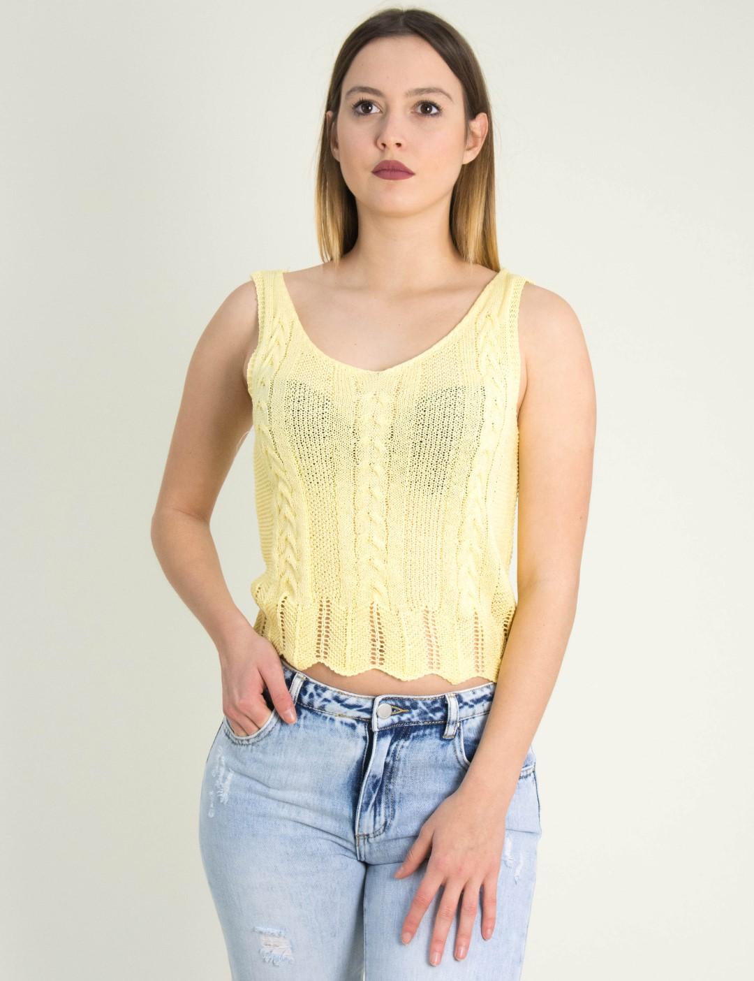 b50115ca4e08 Γυναικείο κίτρινο τοπ πλεκτό με ράντες 2081U