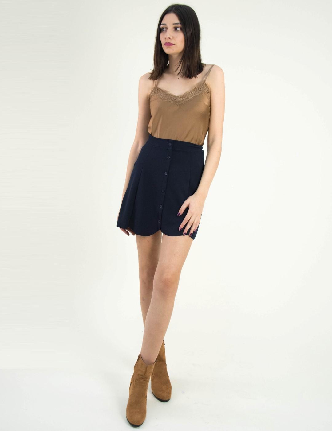 e0b4df1be63d Γυναικεία μίνι υφασμάτινη φούστα So Sexy μπλε με κουμπά 12620