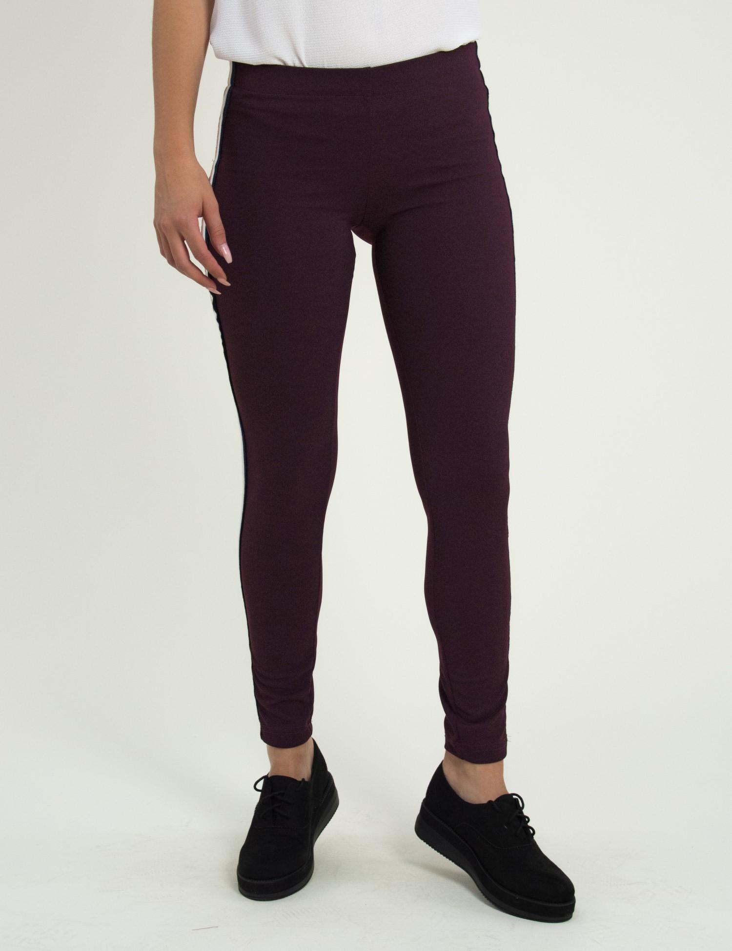 3441c0bbd02 Γυναικείο μπορντό ελαστικό παντελόνι Coocu ρίγες σωλήνας 41167F